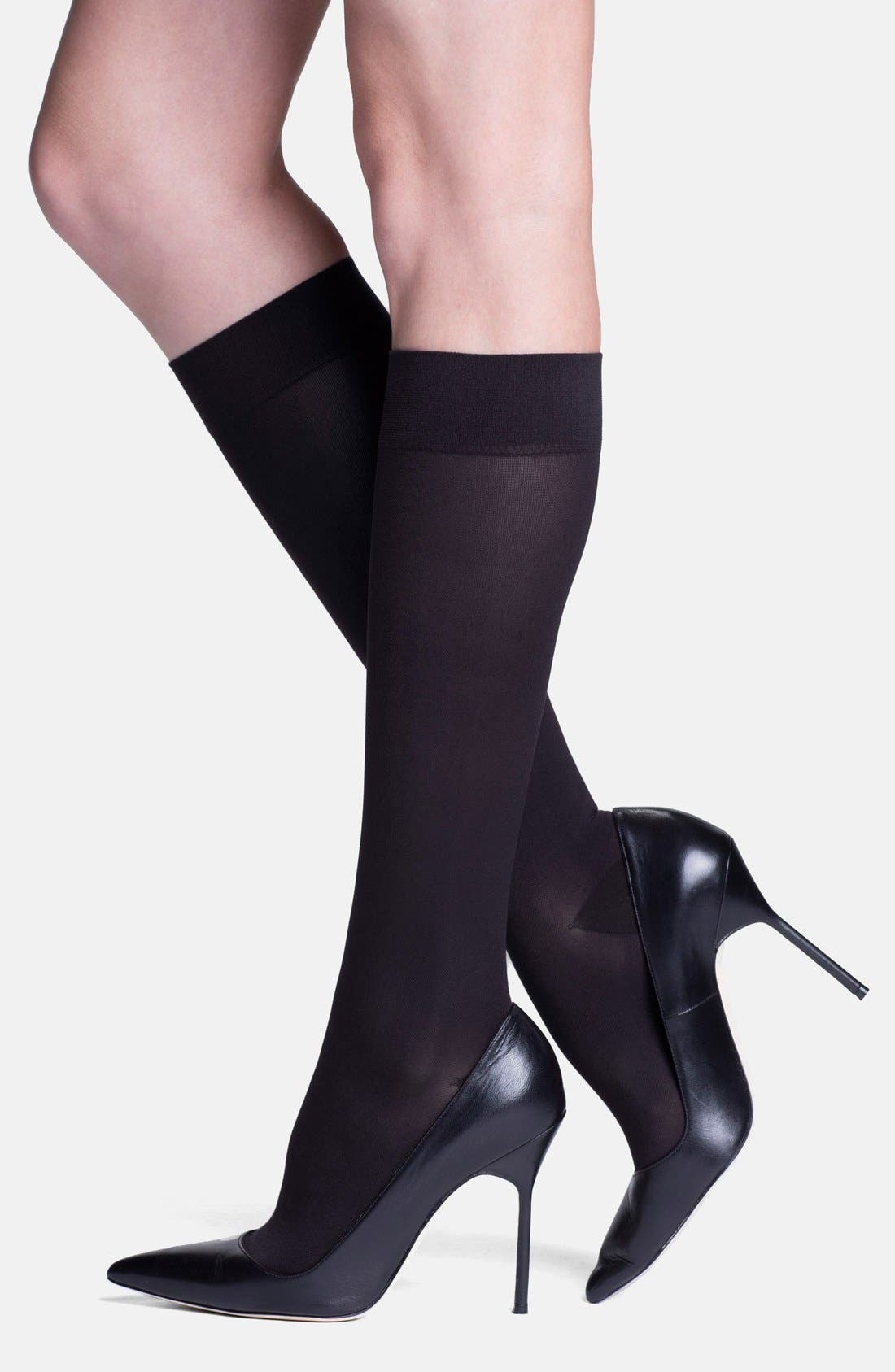 'Headliner' Compression Knee High Socks,                         Main,                         color, BLACK