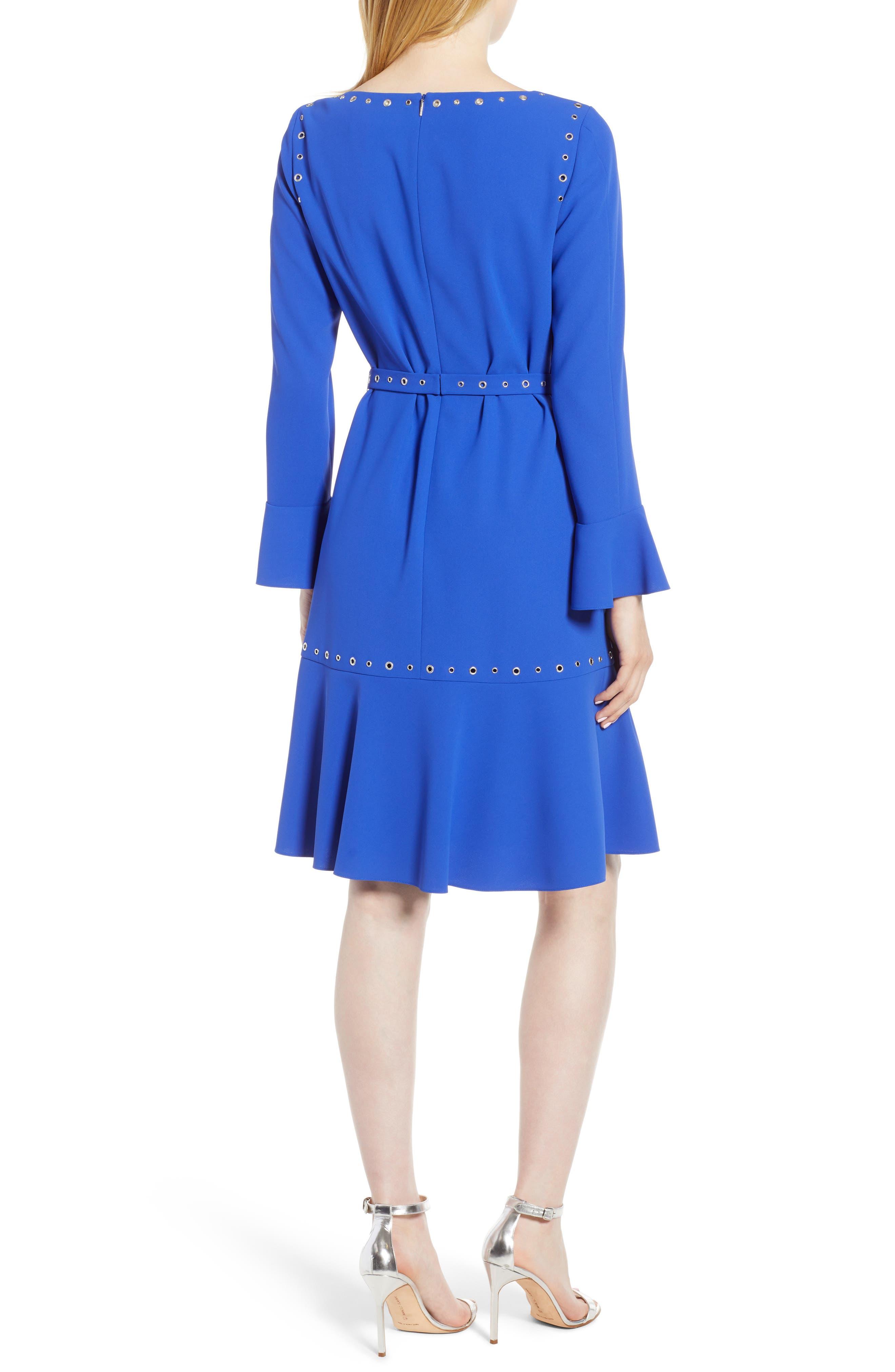 Henryke Rivet Crepe Dress,                             Alternate thumbnail 2, color,                             SAILOR BLUE
