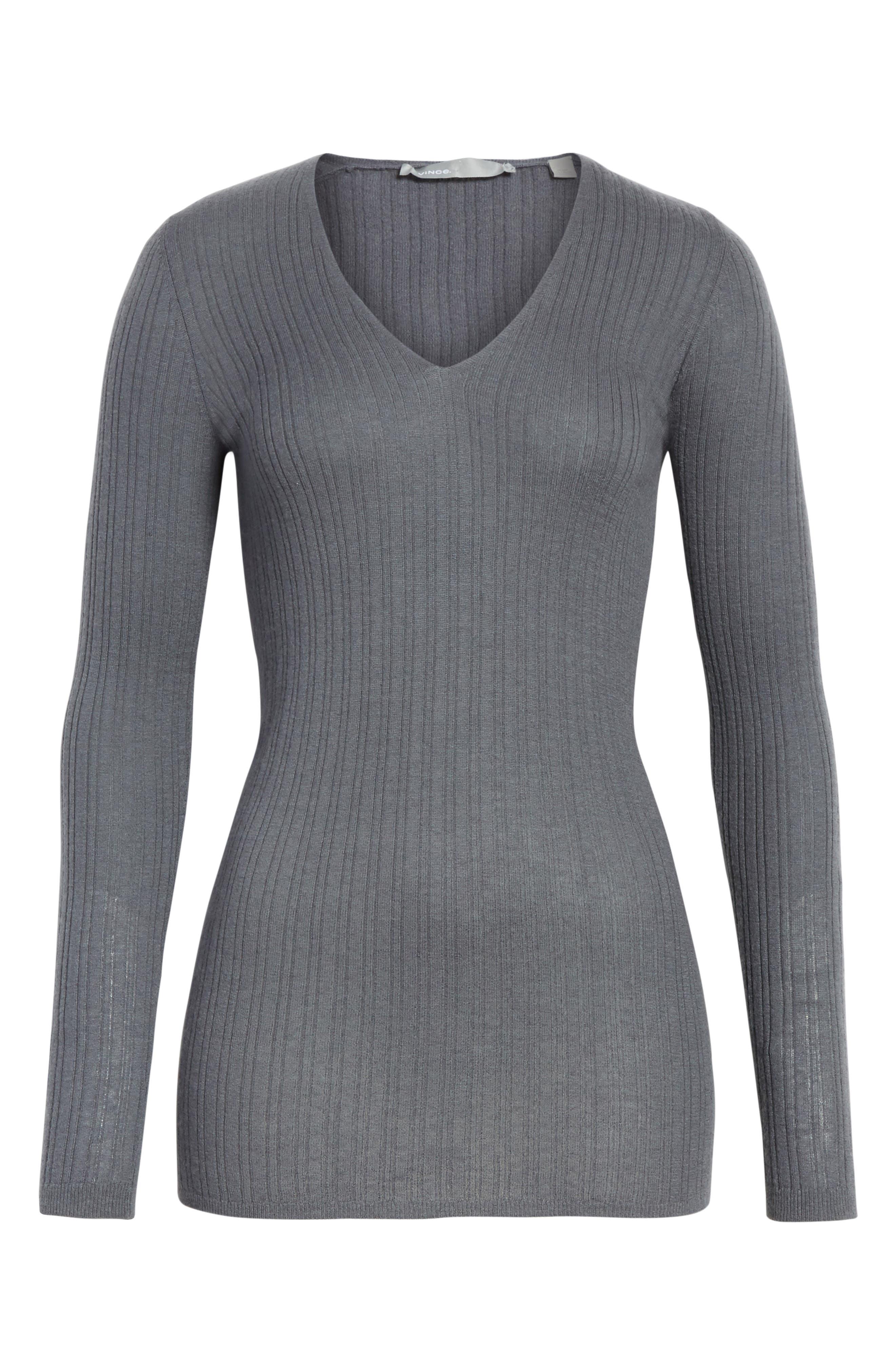 Ribbed Cashmere V-Neck Sweater,                             Alternate thumbnail 17, color,