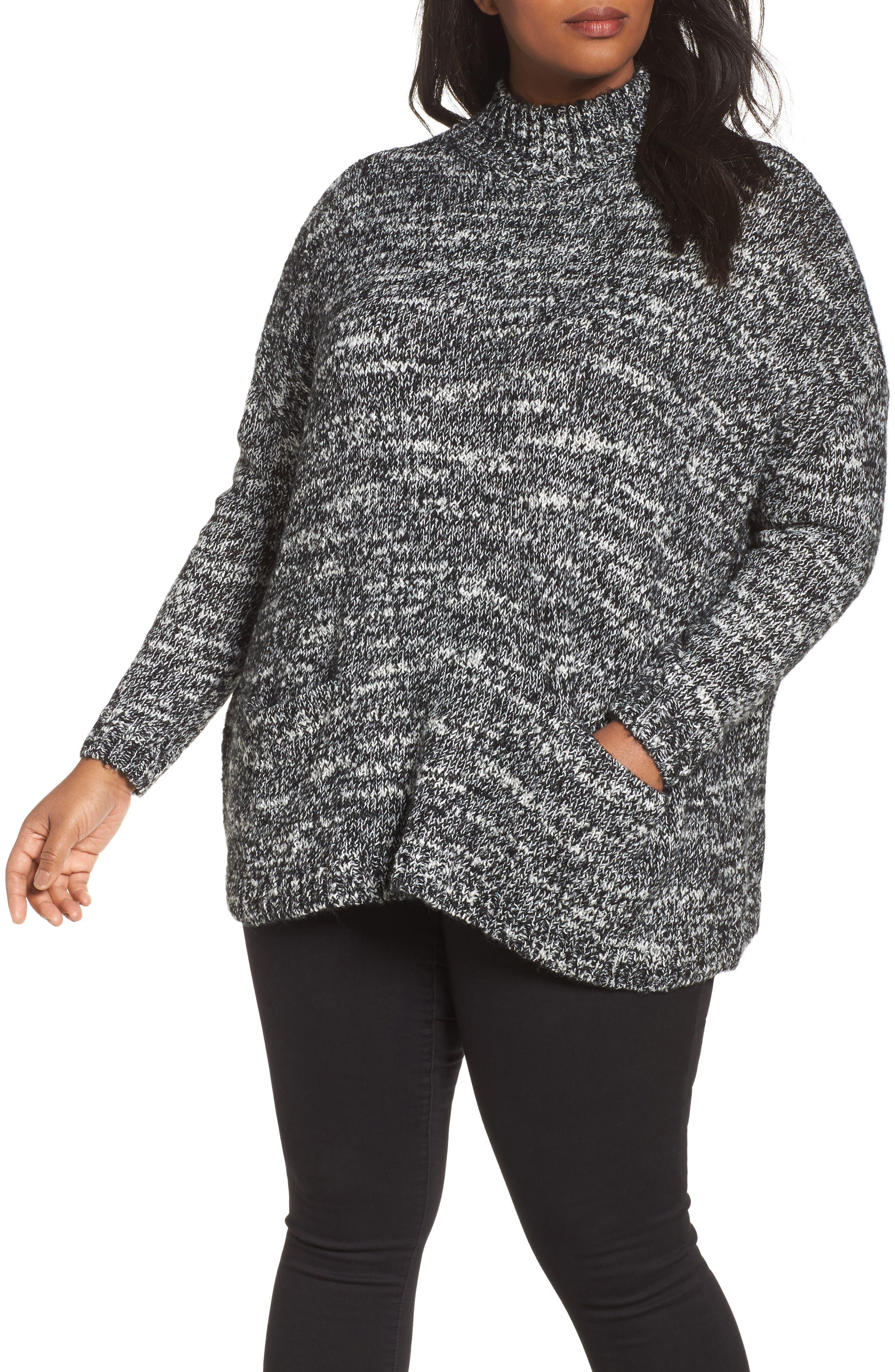 Mock Neck Knit Sweater,                             Main thumbnail 1, color,                             001