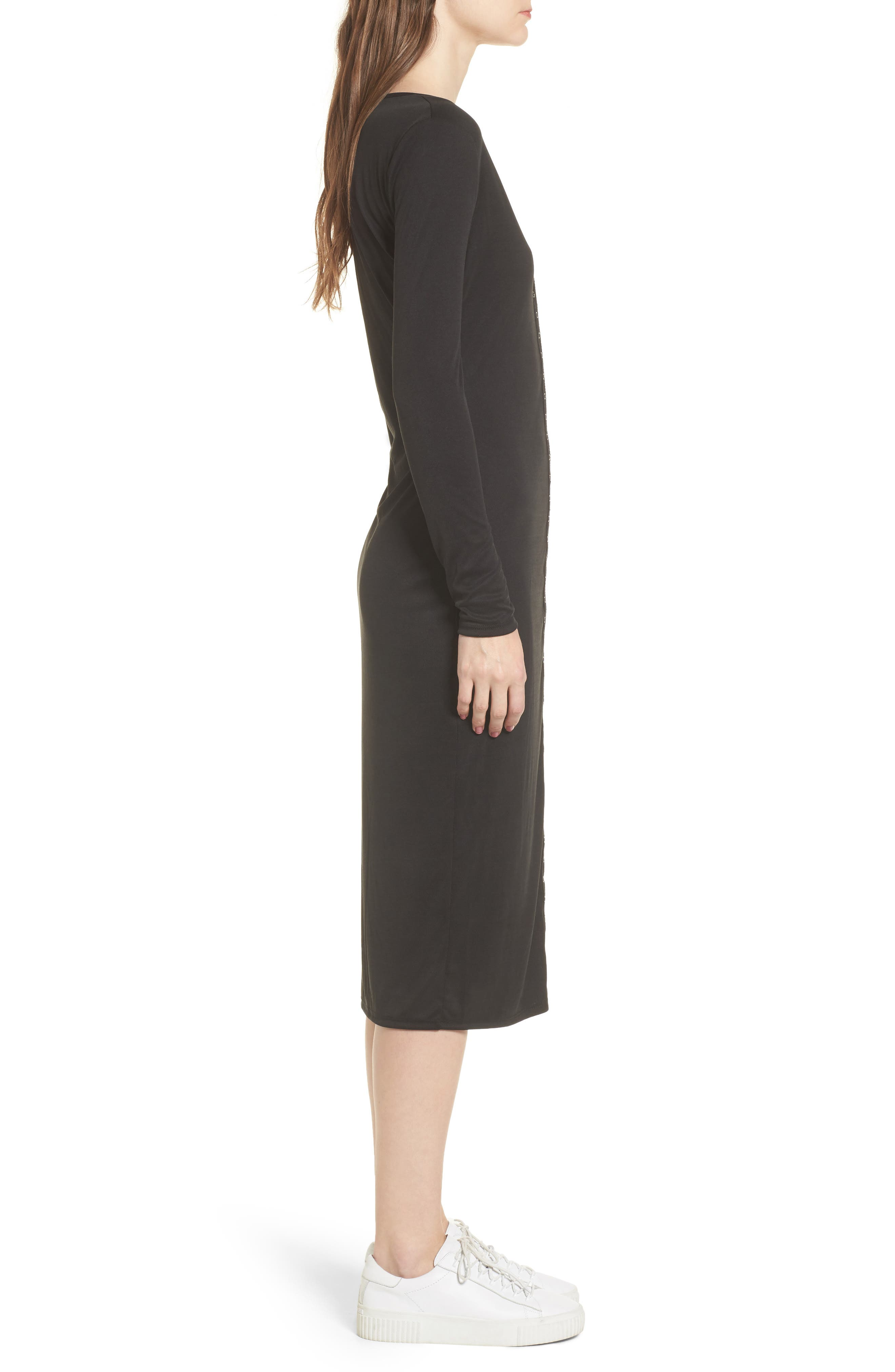Snap Front Henley Dress,                             Alternate thumbnail 3, color,                             001