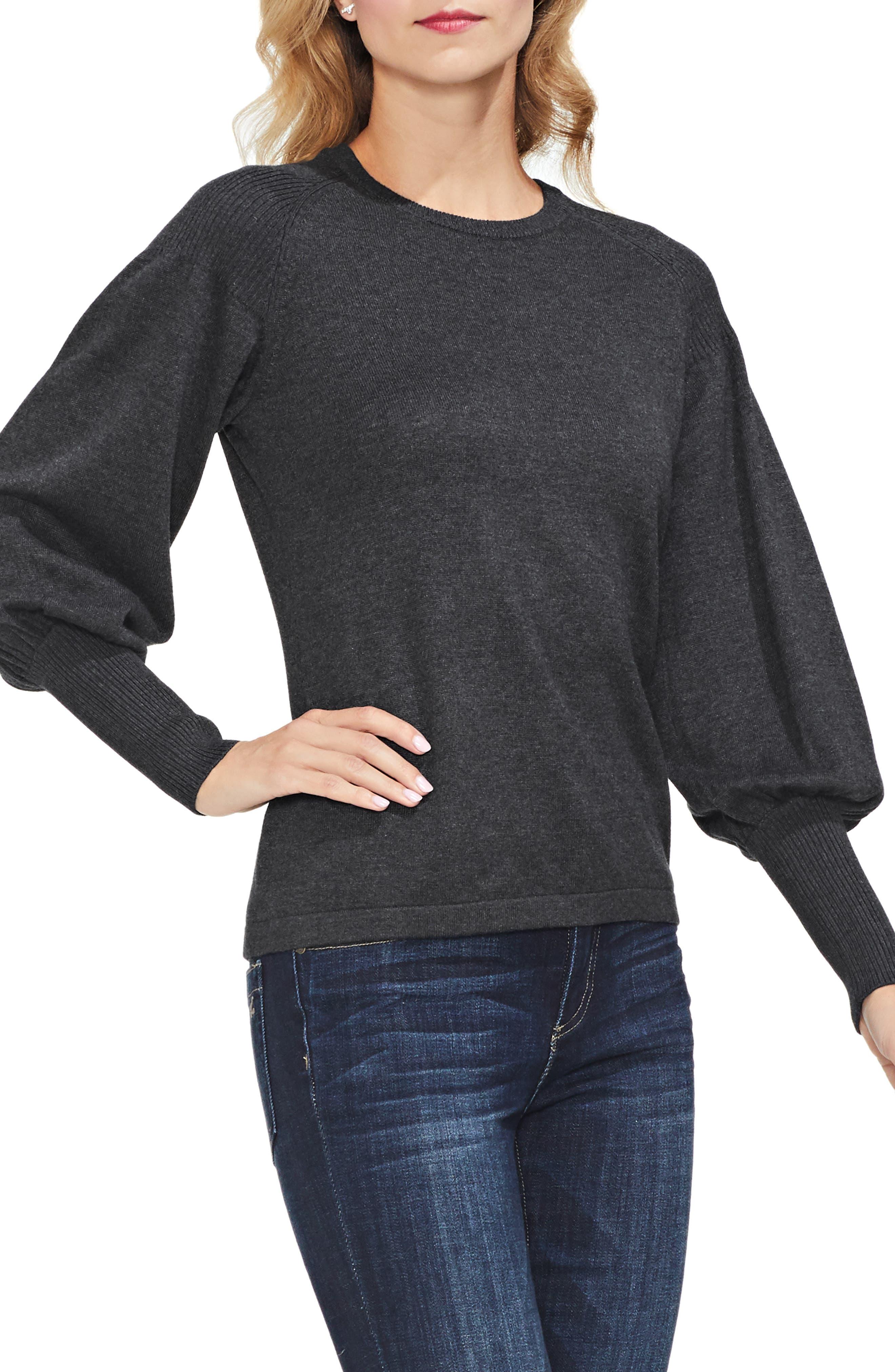 Blouson Sleeve Sweater,                             Main thumbnail 1, color,                             MED HEATHER GREY