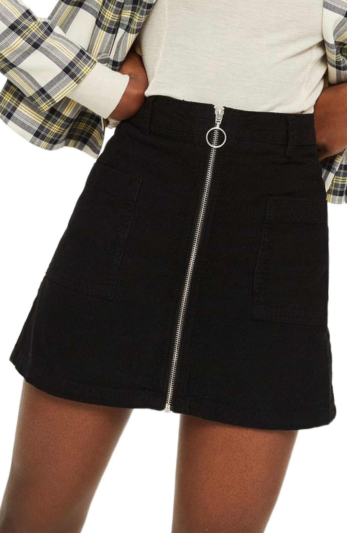 Zip Through Corduroy Skirt,                             Main thumbnail 1, color,                             001
