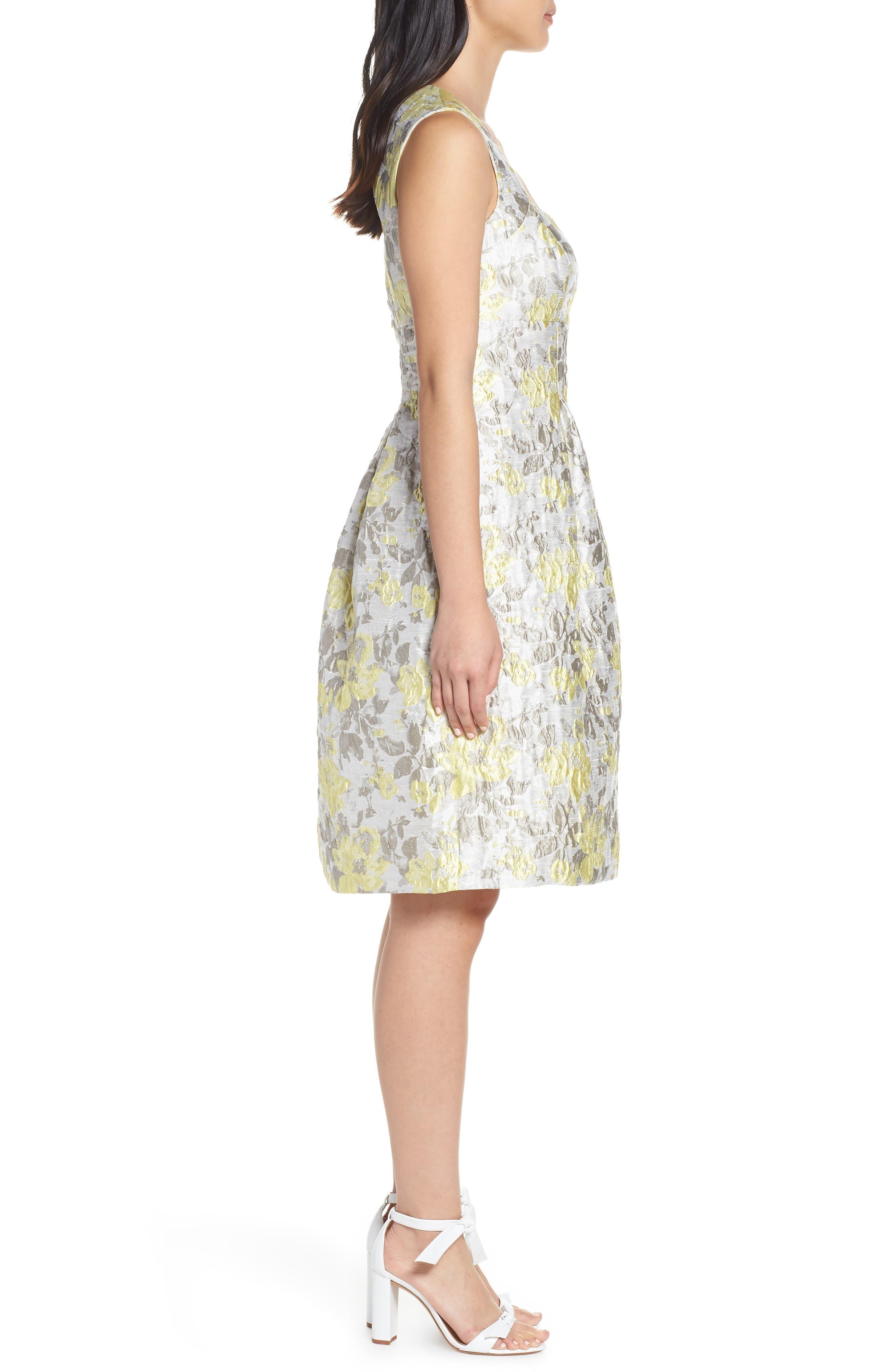 ELIZA J,                             Floral Jacquard Fit & Flare Dress,                             Alternate thumbnail 3, color,                             SILVER COMBO