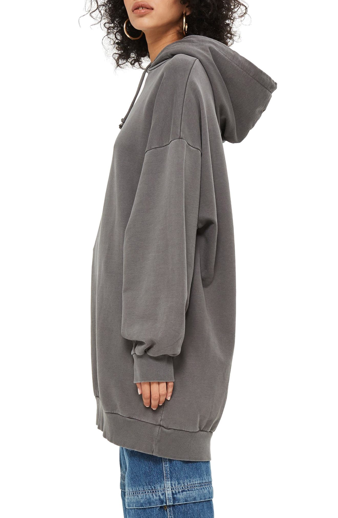 Longline Hoodie,                             Alternate thumbnail 3, color,                             GREY MARL