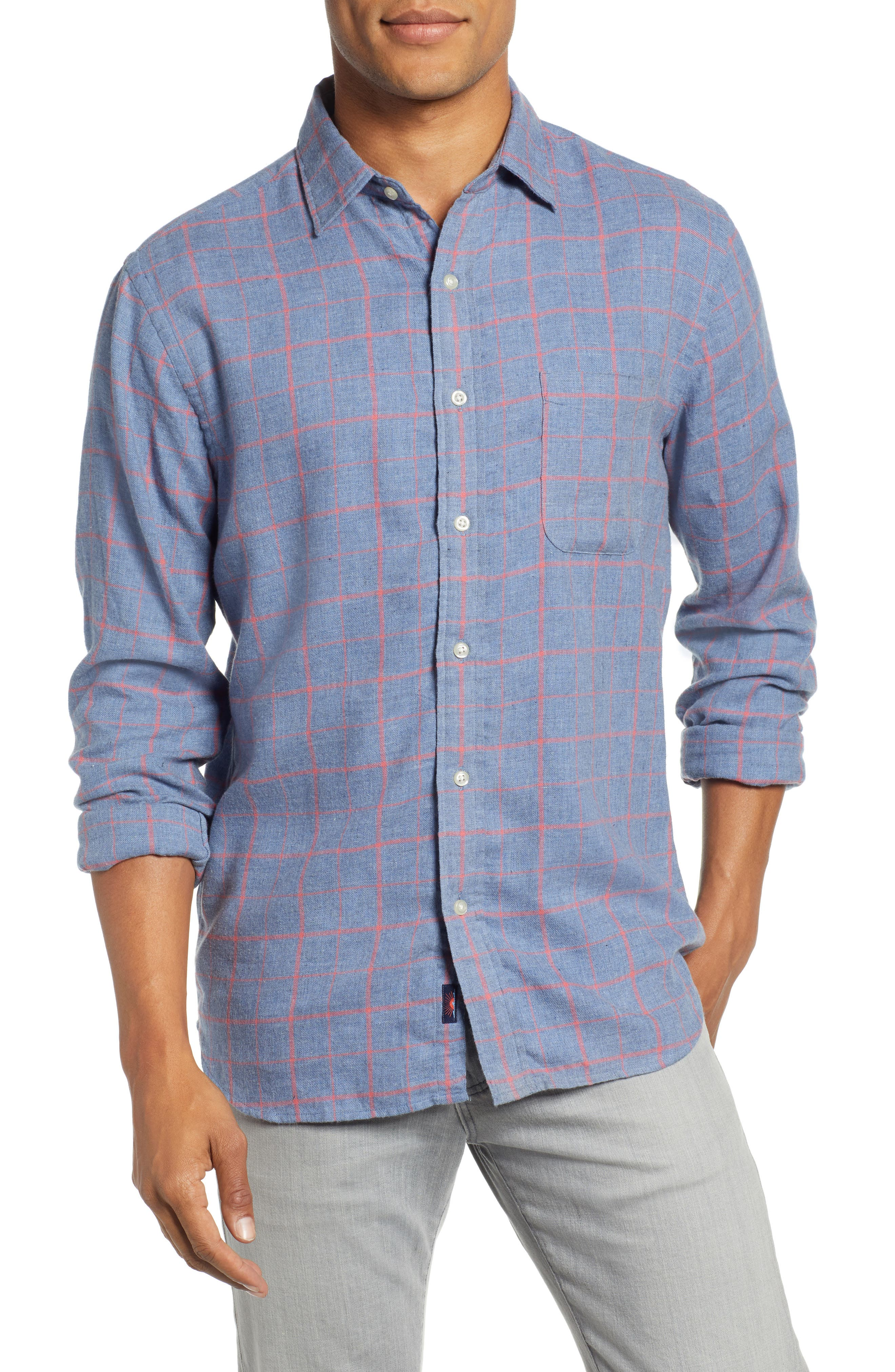 Ventura Windowpane Sport Shirt,                             Main thumbnail 1, color,                             BLUE MELANGE WINDOWPANE