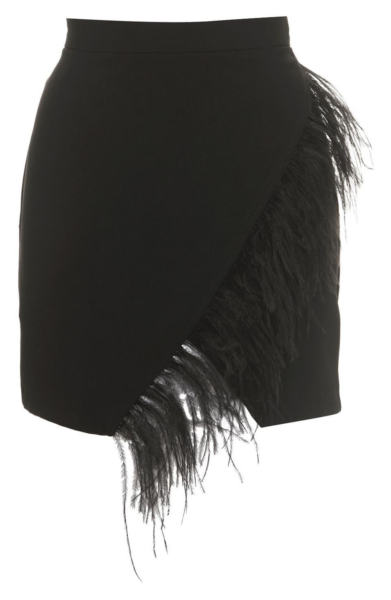 Feather Trim Faux Wrap Miniskirt,                             Alternate thumbnail 3, color,                             001