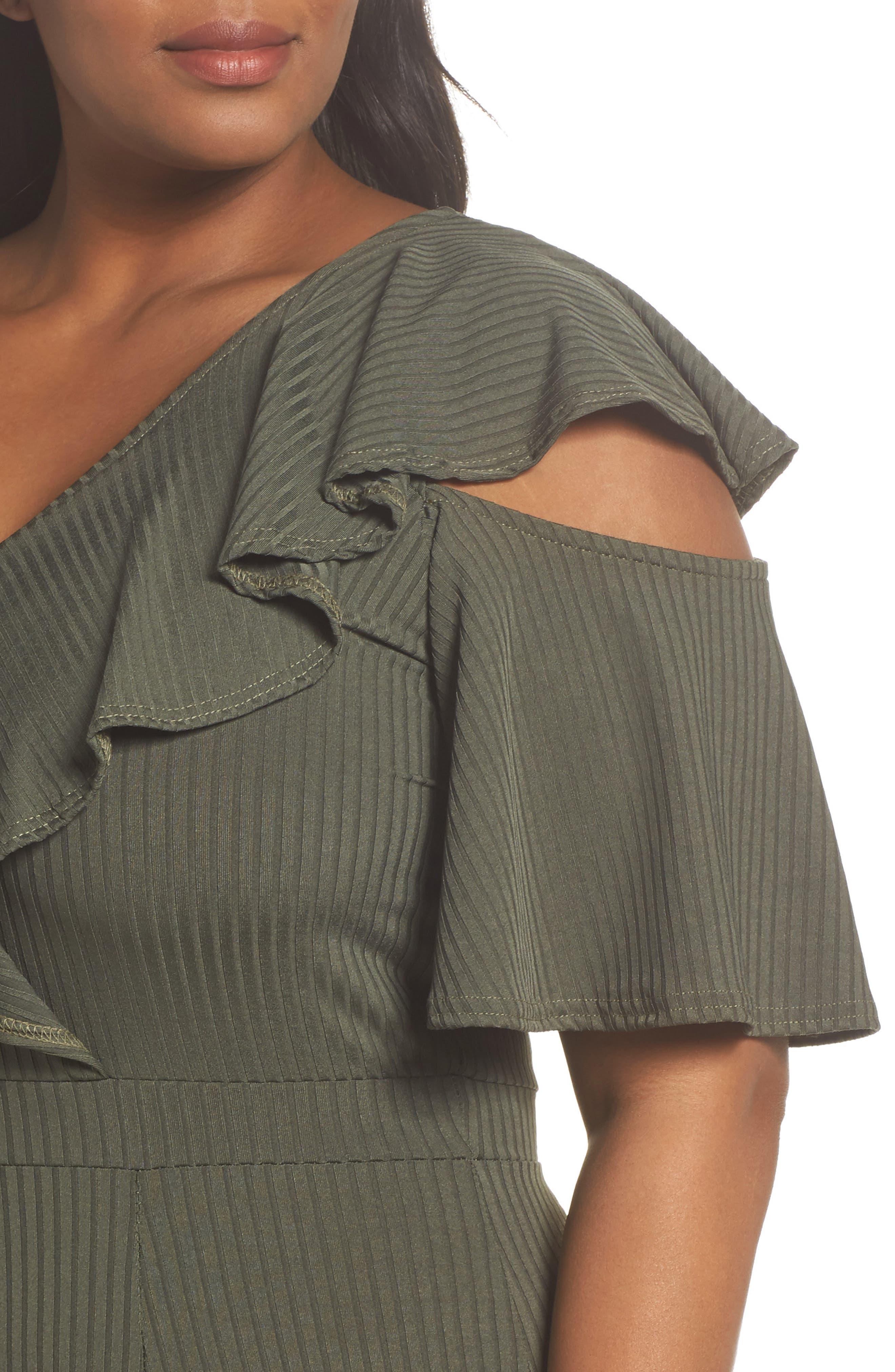 Ruffle Cold Shoulder Knit Jumpsuit,                             Alternate thumbnail 4, color,                             360