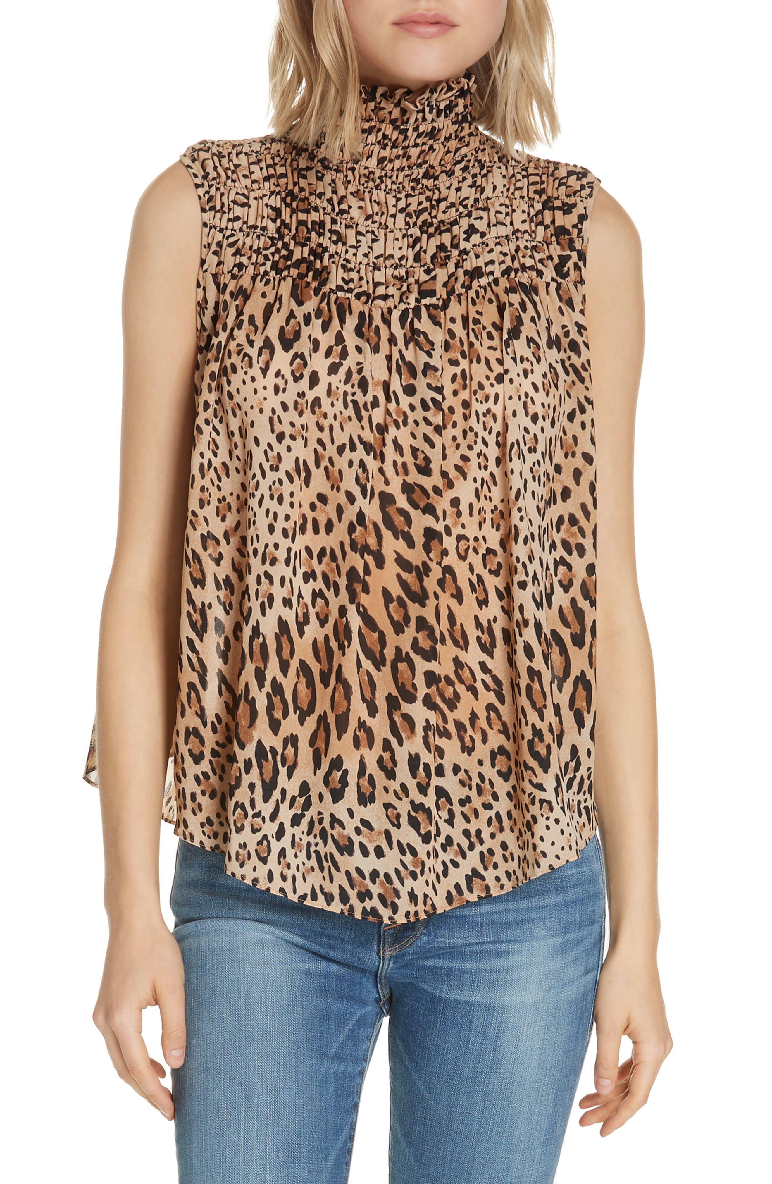 Leopard Print Smocked Silk Blouse, Main, color, 201