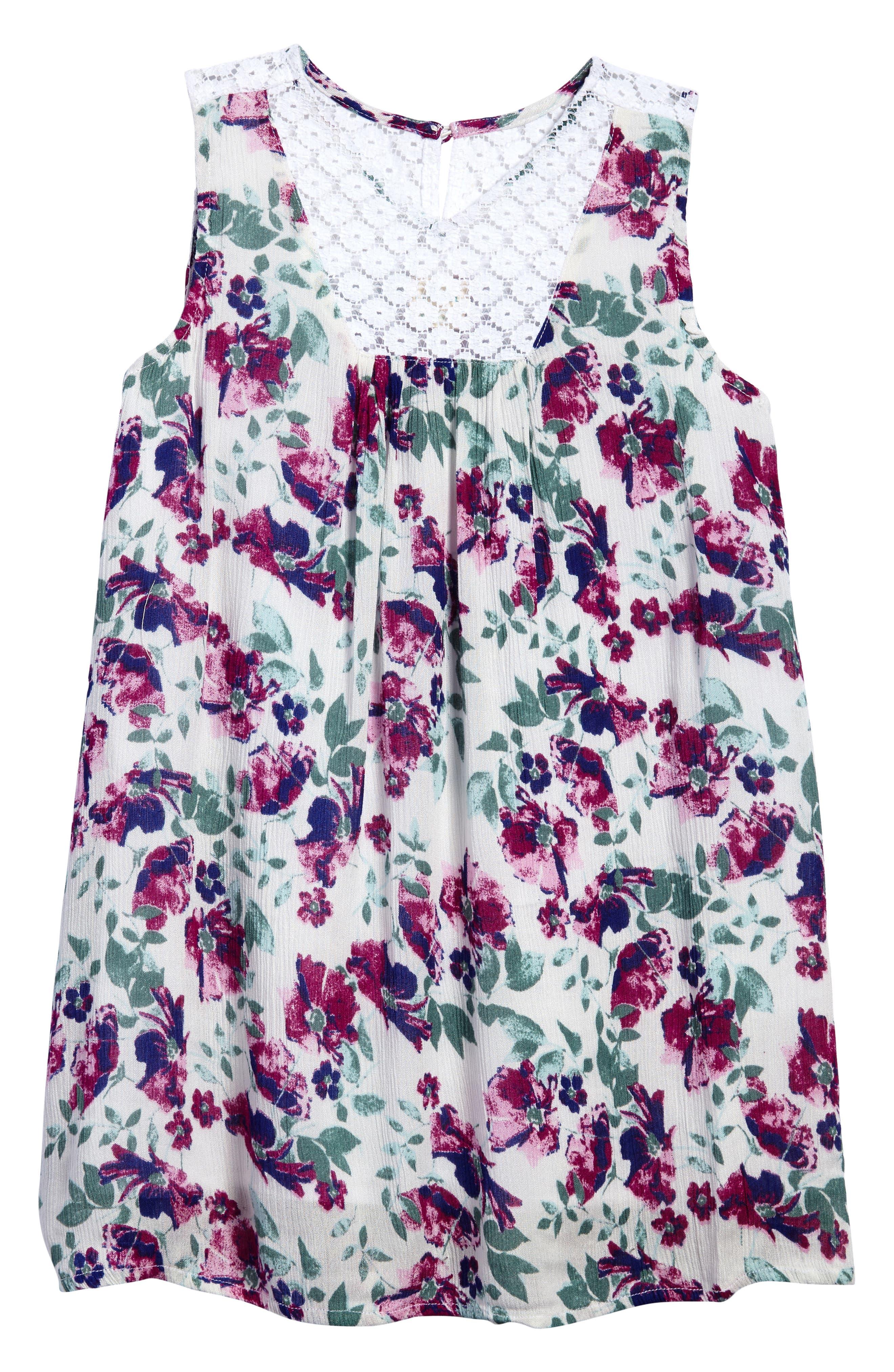 Lia Floral Woven Dress,                         Main,                         color, 100