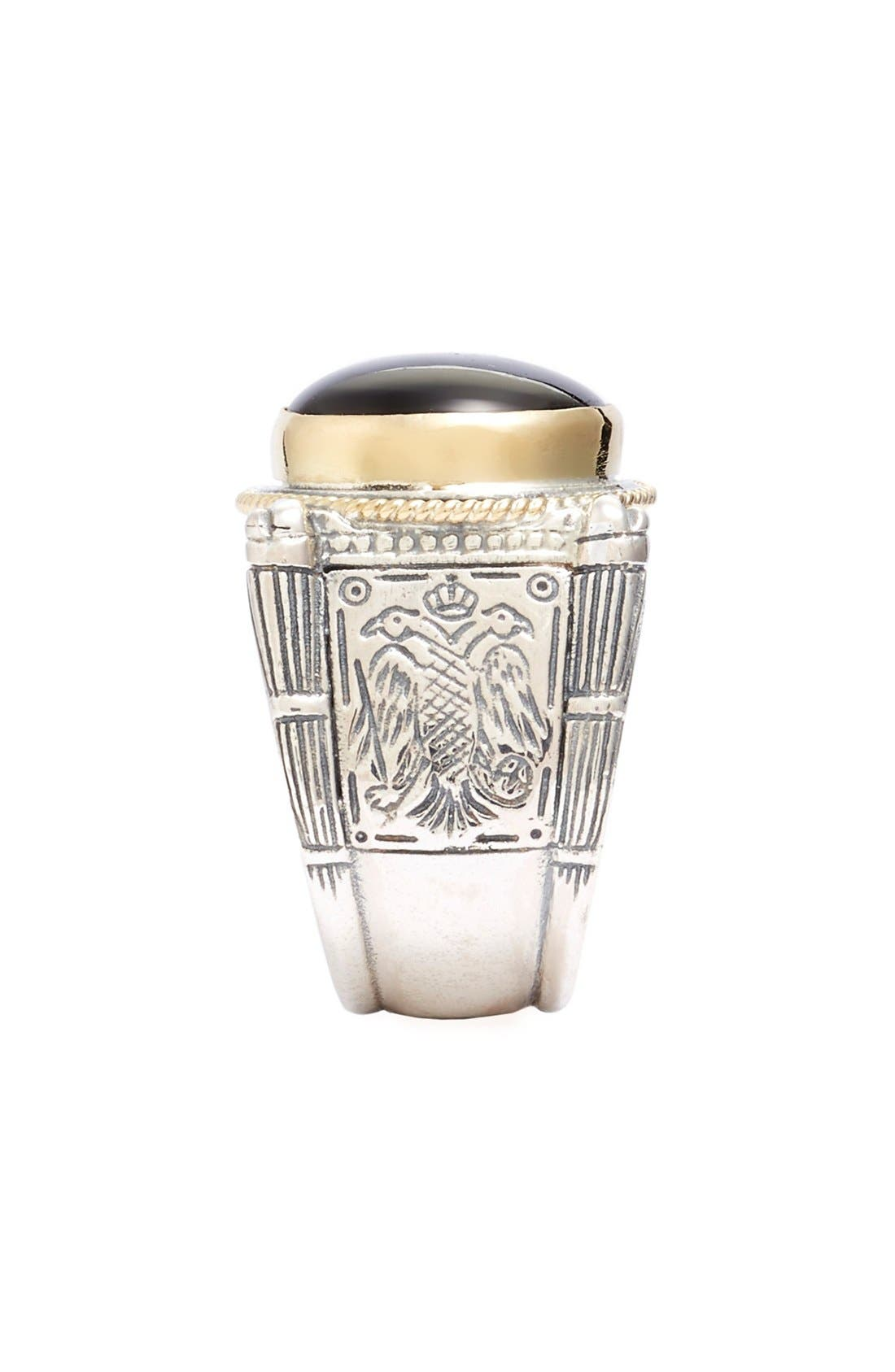'Minos' Etched Black Onyx Ring,                             Alternate thumbnail 2, color,                             040