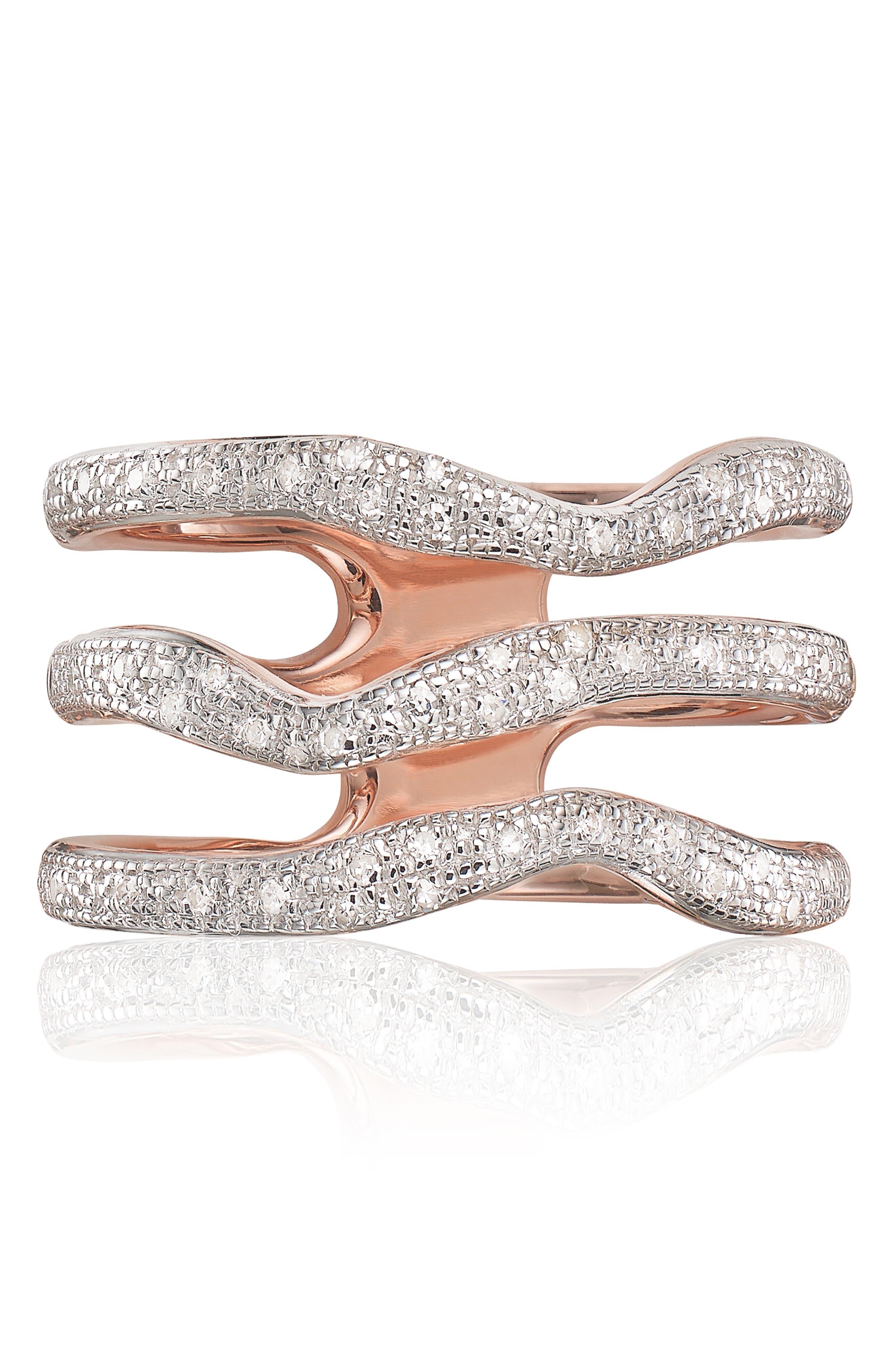 MONICA VINADER,                             'Riva' Three Band Diamond Ring,                             Main thumbnail 1, color,                             ROSE GOLD