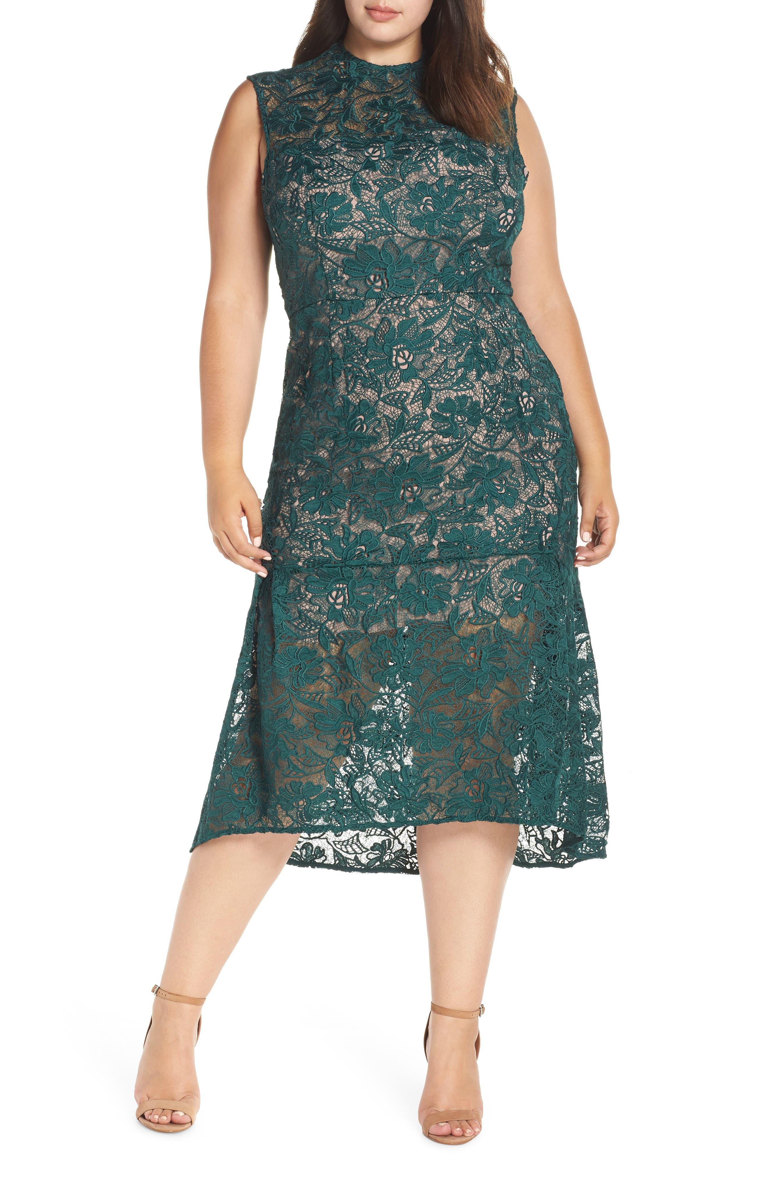 Lace Mock Neck Midi Dress,                             Main thumbnail 1, color,                             301