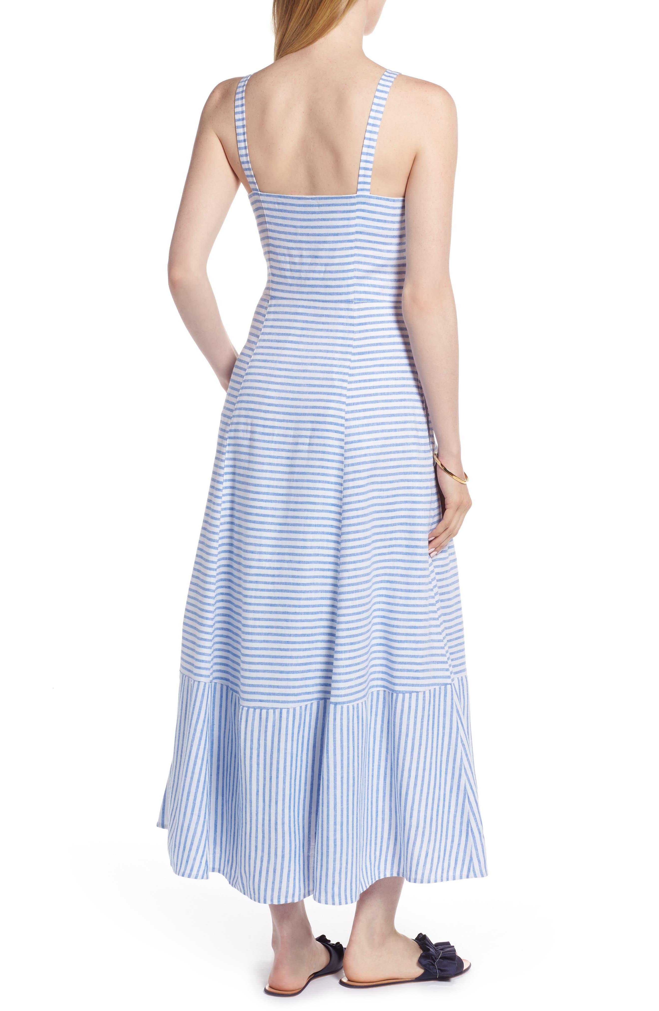 Button Front Stripe Linen Blend Dress,                             Alternate thumbnail 2, color,