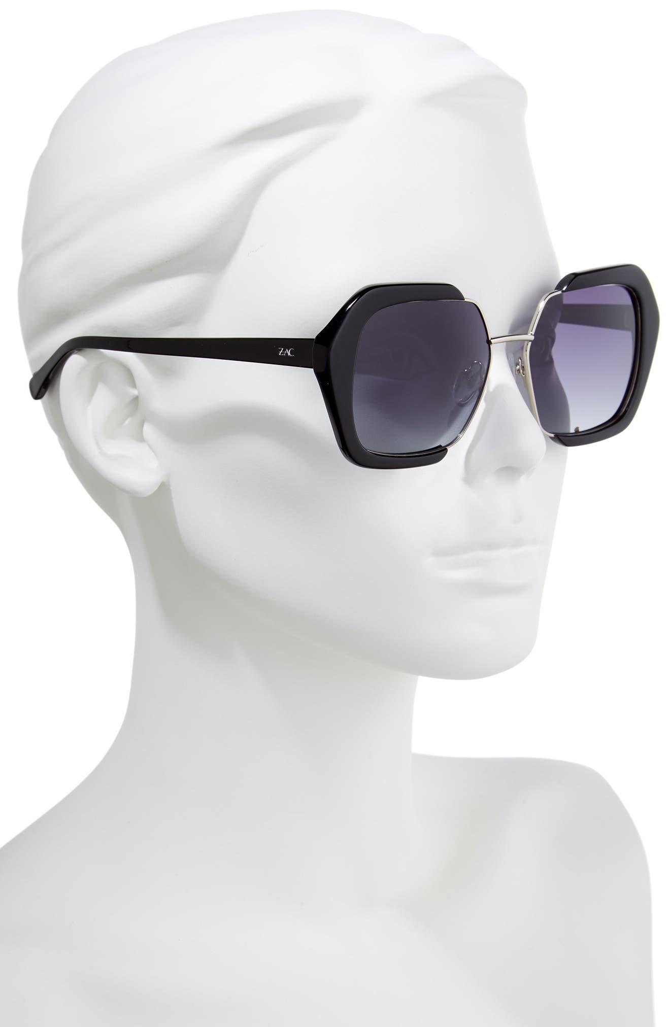 Isleen 55mm Polarized Sunglasses,                             Alternate thumbnail 2, color,                             BLACK POLAR