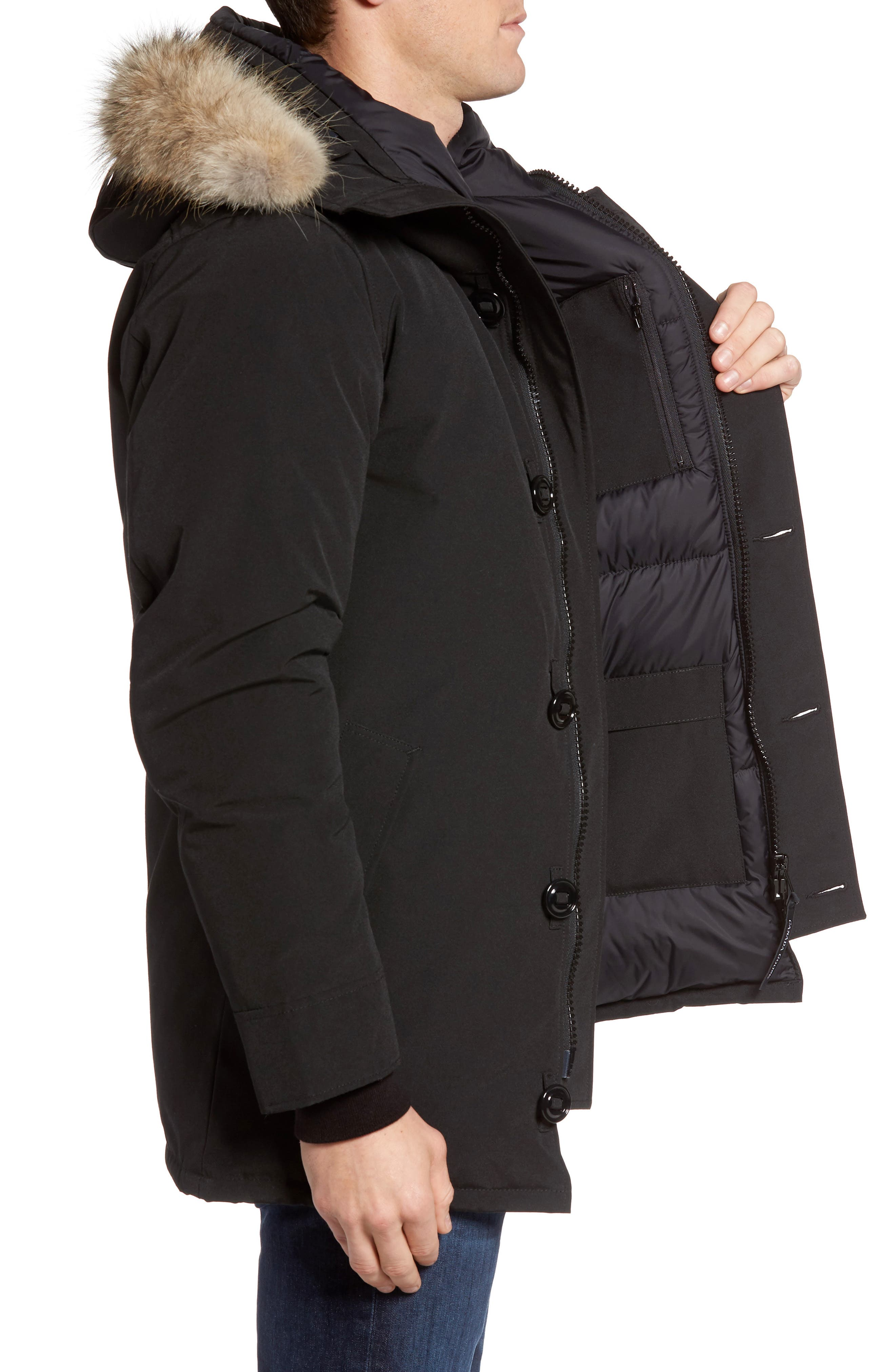 Chateau Parka with Genuine Coyote Fur Trim,                             Alternate thumbnail 3, color,                             001