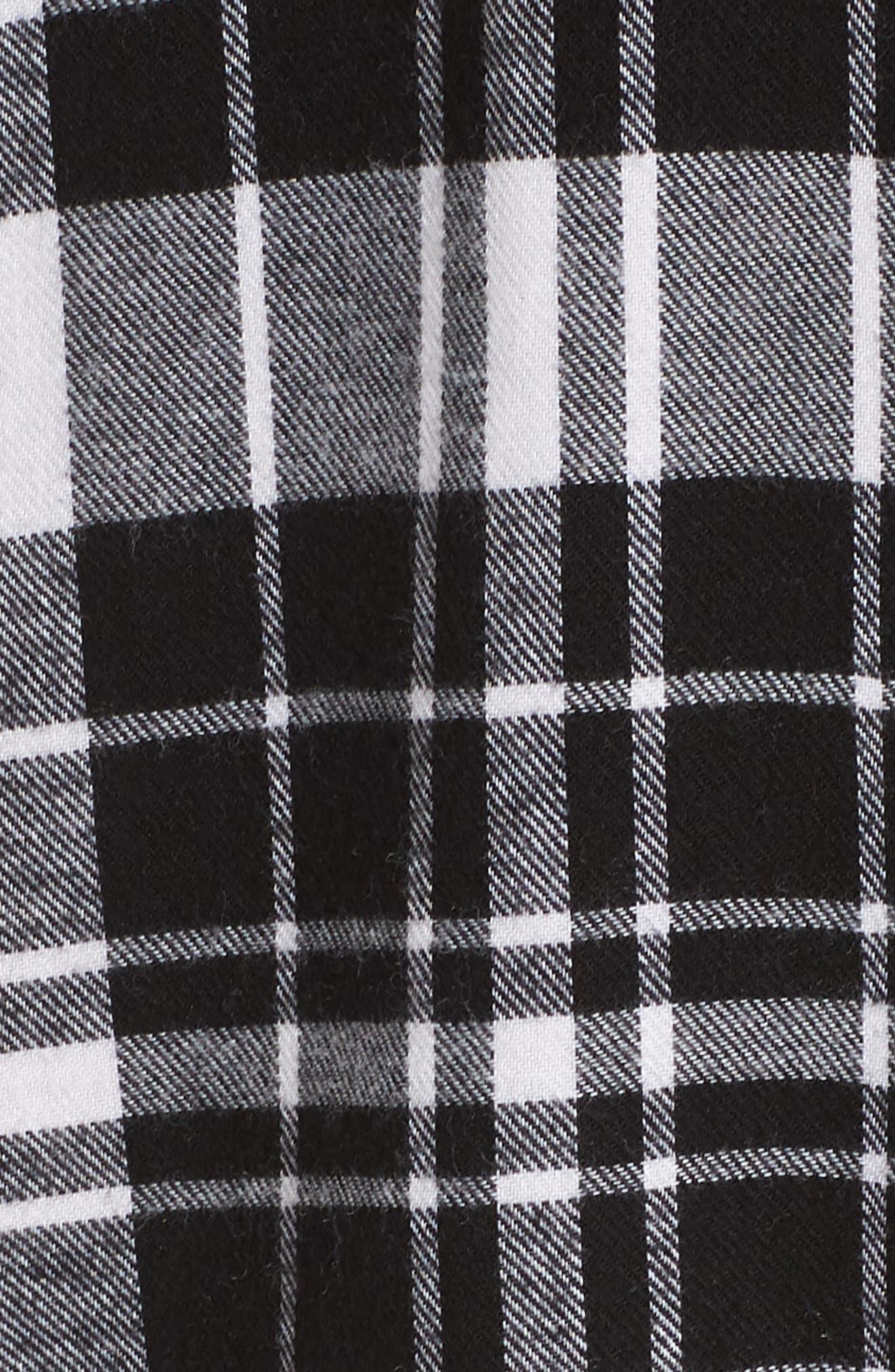 Flannel Midi Sleep Shirt,                             Alternate thumbnail 6, color,                             BLACK FLAT TWILL