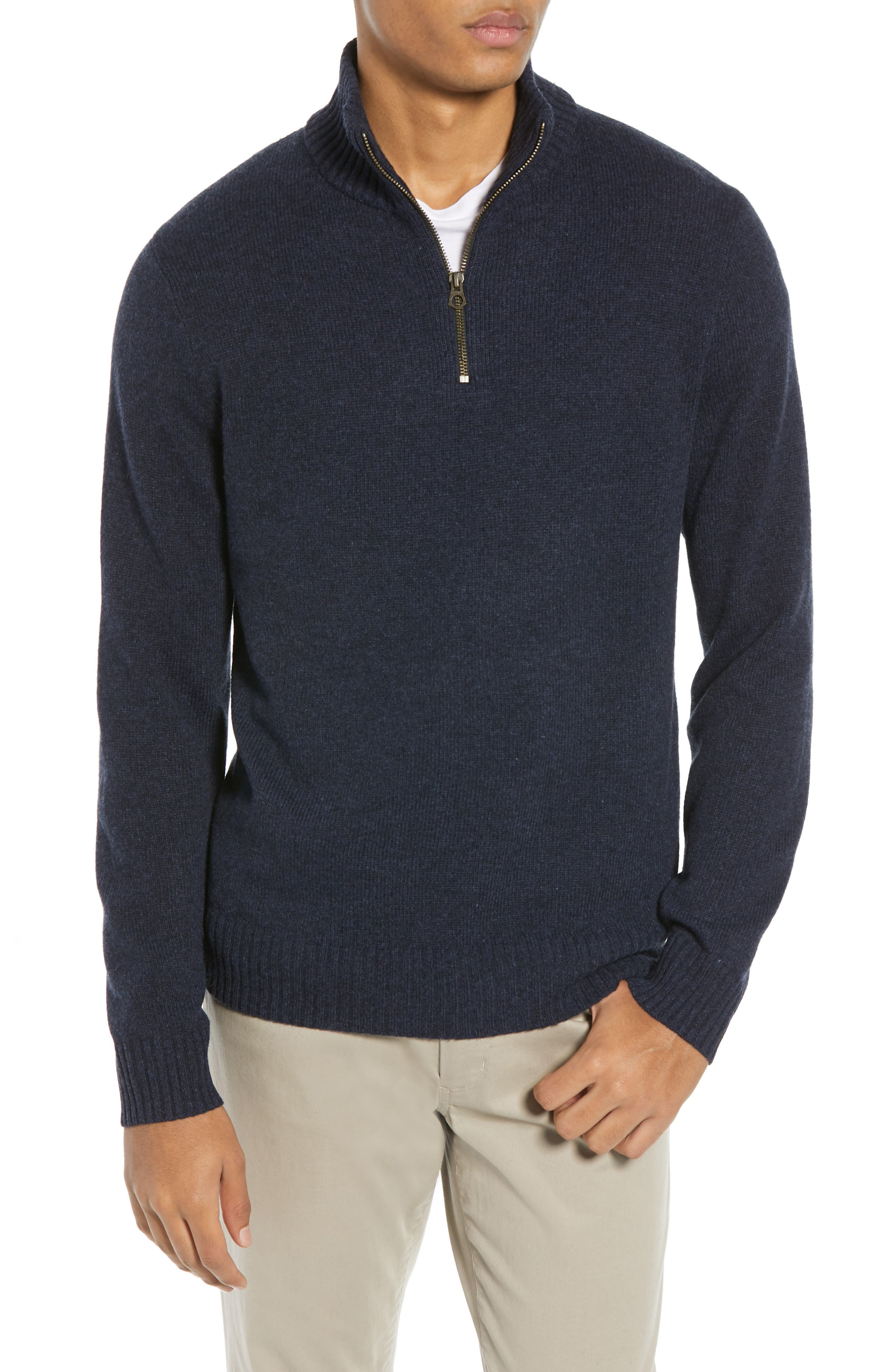 J.crew Rugged Merino Wool Blend Half Zip Sweater, Blue