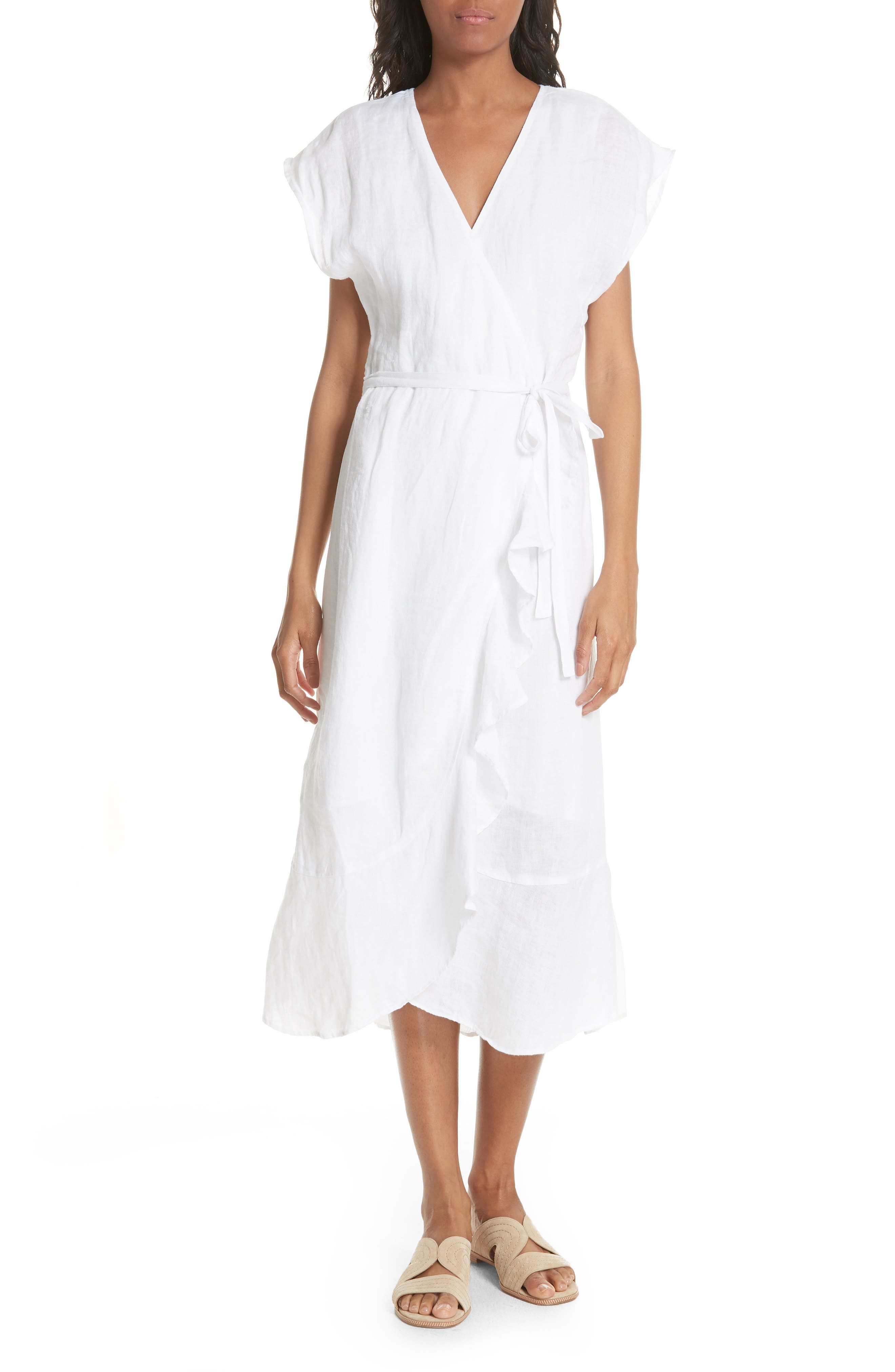 Filma Back Cutout Linen Wrap Dress,                             Main thumbnail 1, color,                             PORCELAIN
