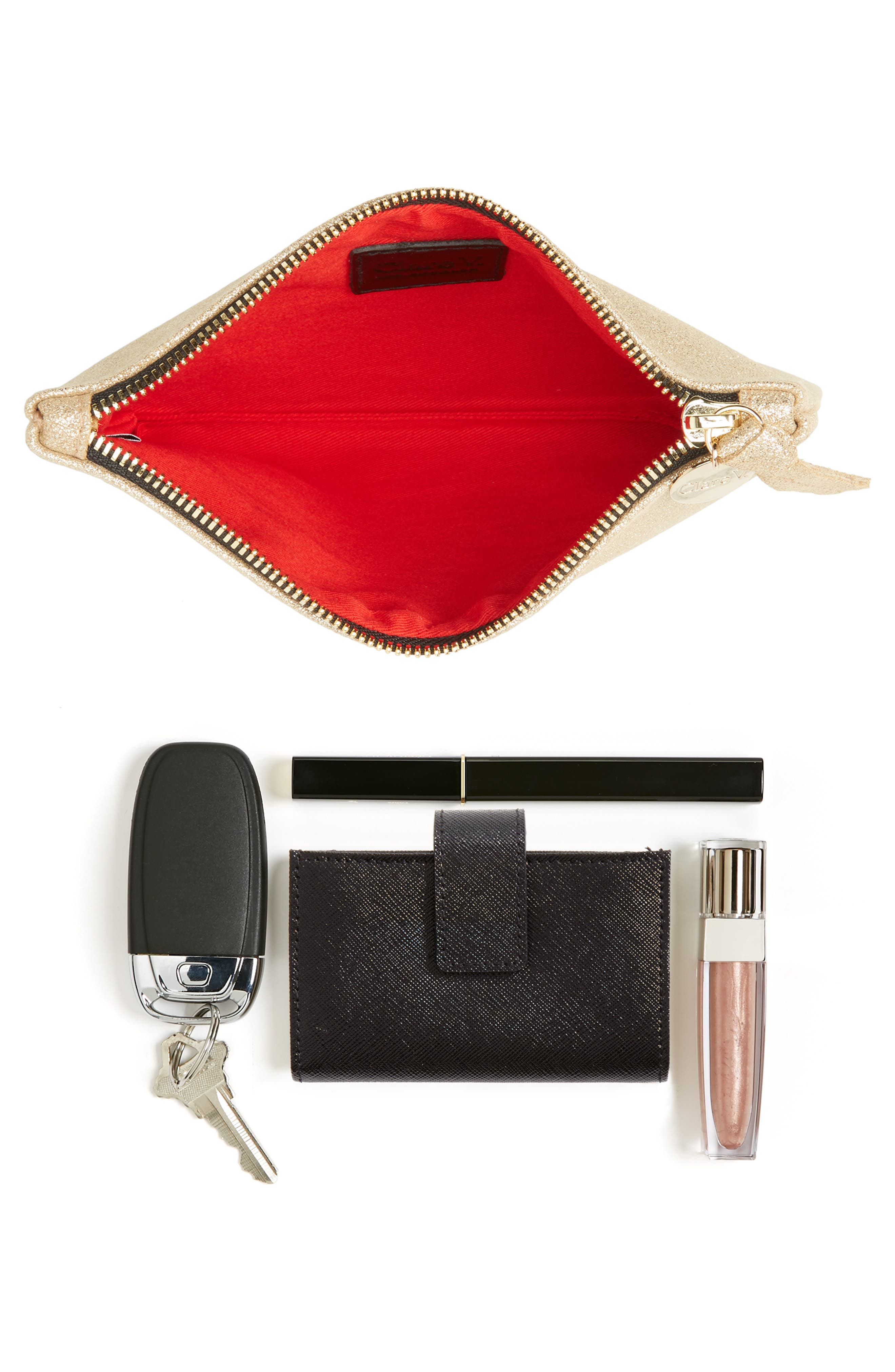 Shimmer Suede Wallet Clutch,                             Alternate thumbnail 7, color,                             710