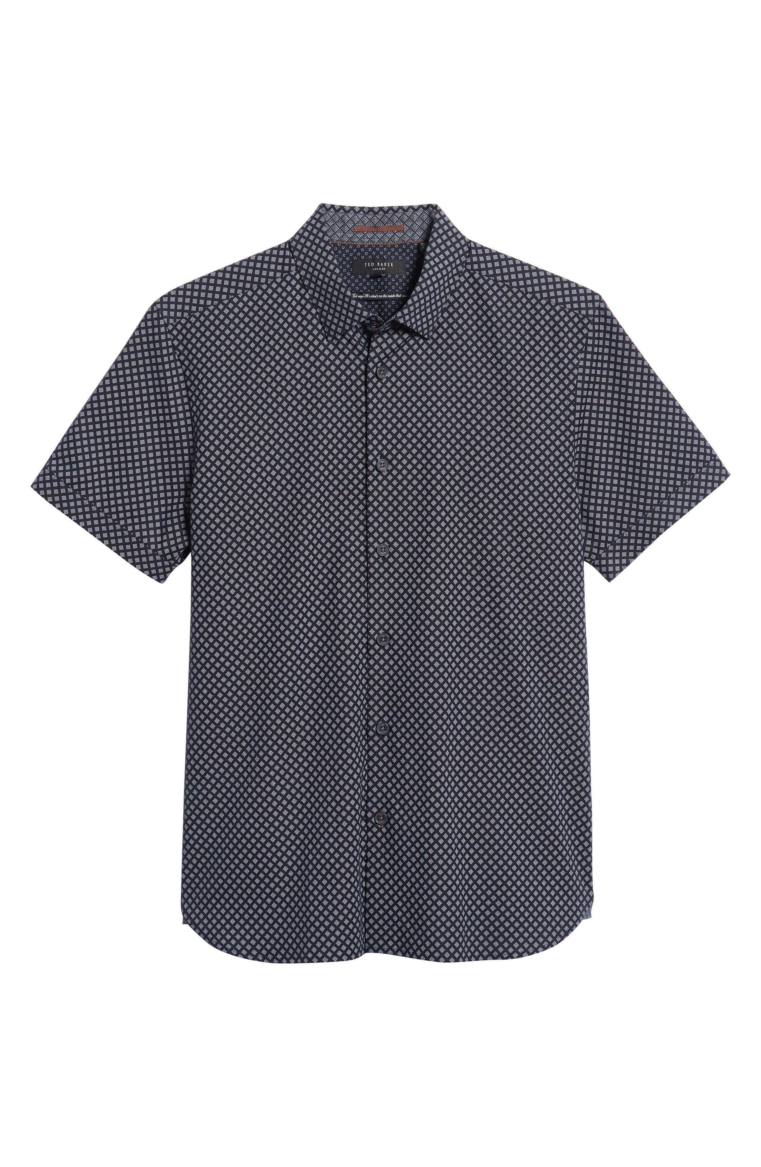 Slim Fit Foresth Diamond Pattern Woven Shirt,                             Alternate thumbnail 5, color,                             NAVY