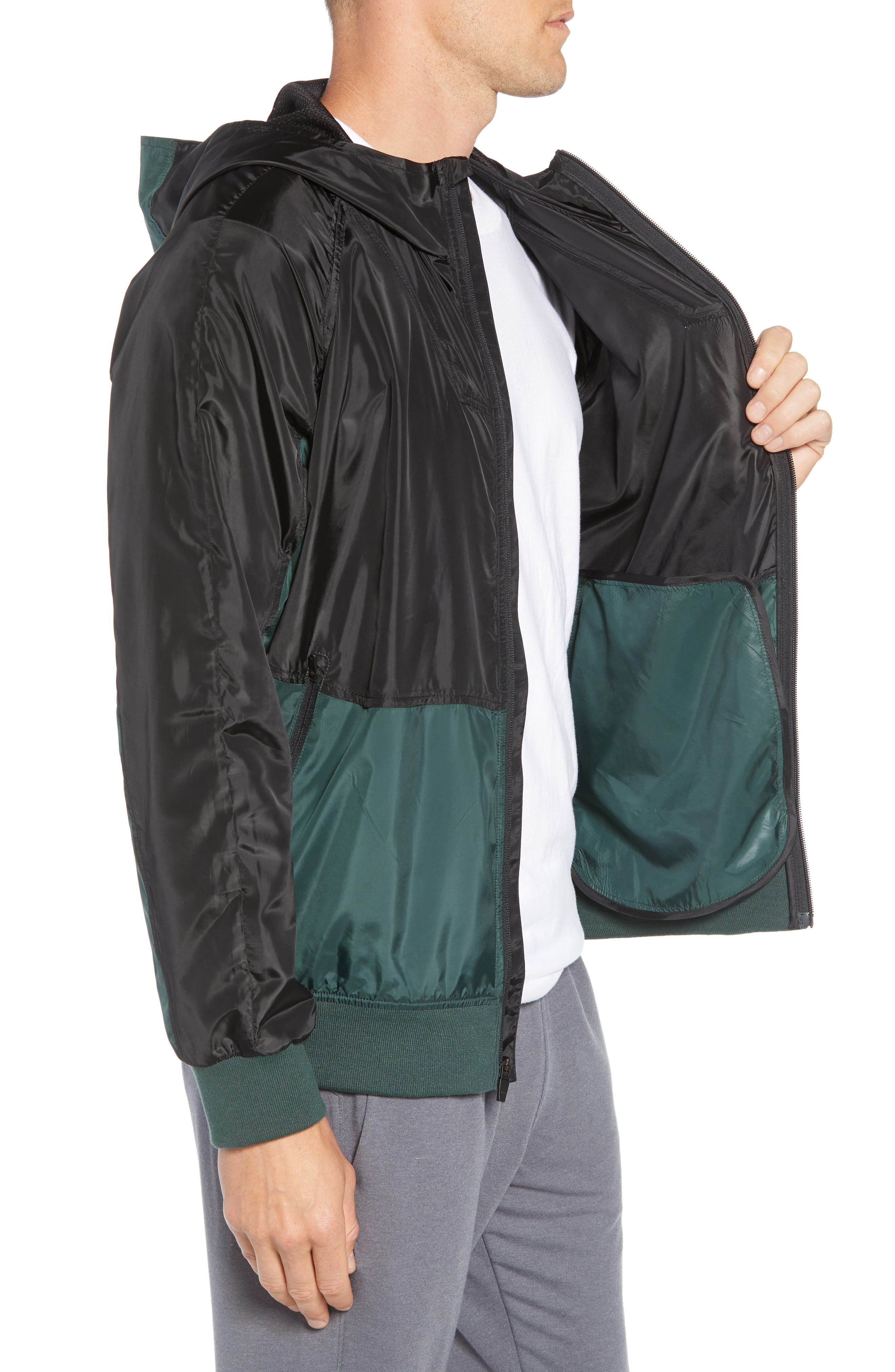 Colorblock Hooded Windbreaker Jacket,                             Alternate thumbnail 3, color,                             BLACK GREEN ODINITE