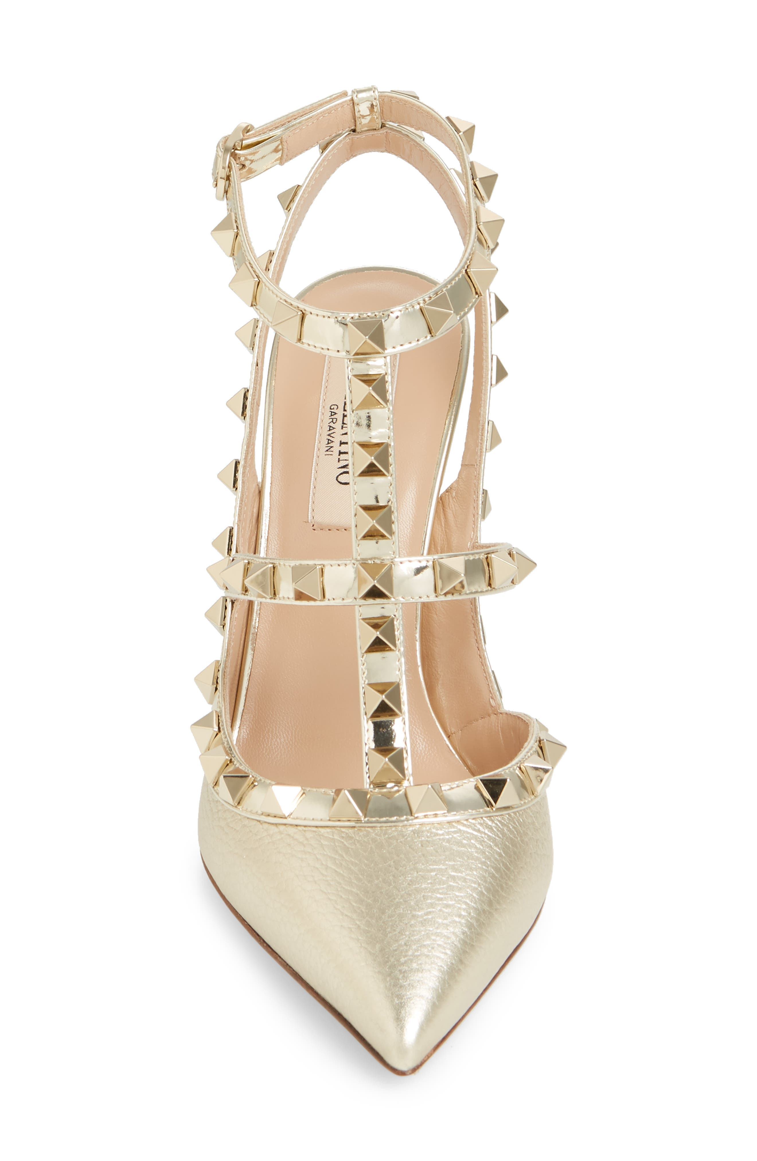 Rockstud T-Strap Pump,                             Alternate thumbnail 4, color,                             PLATINO