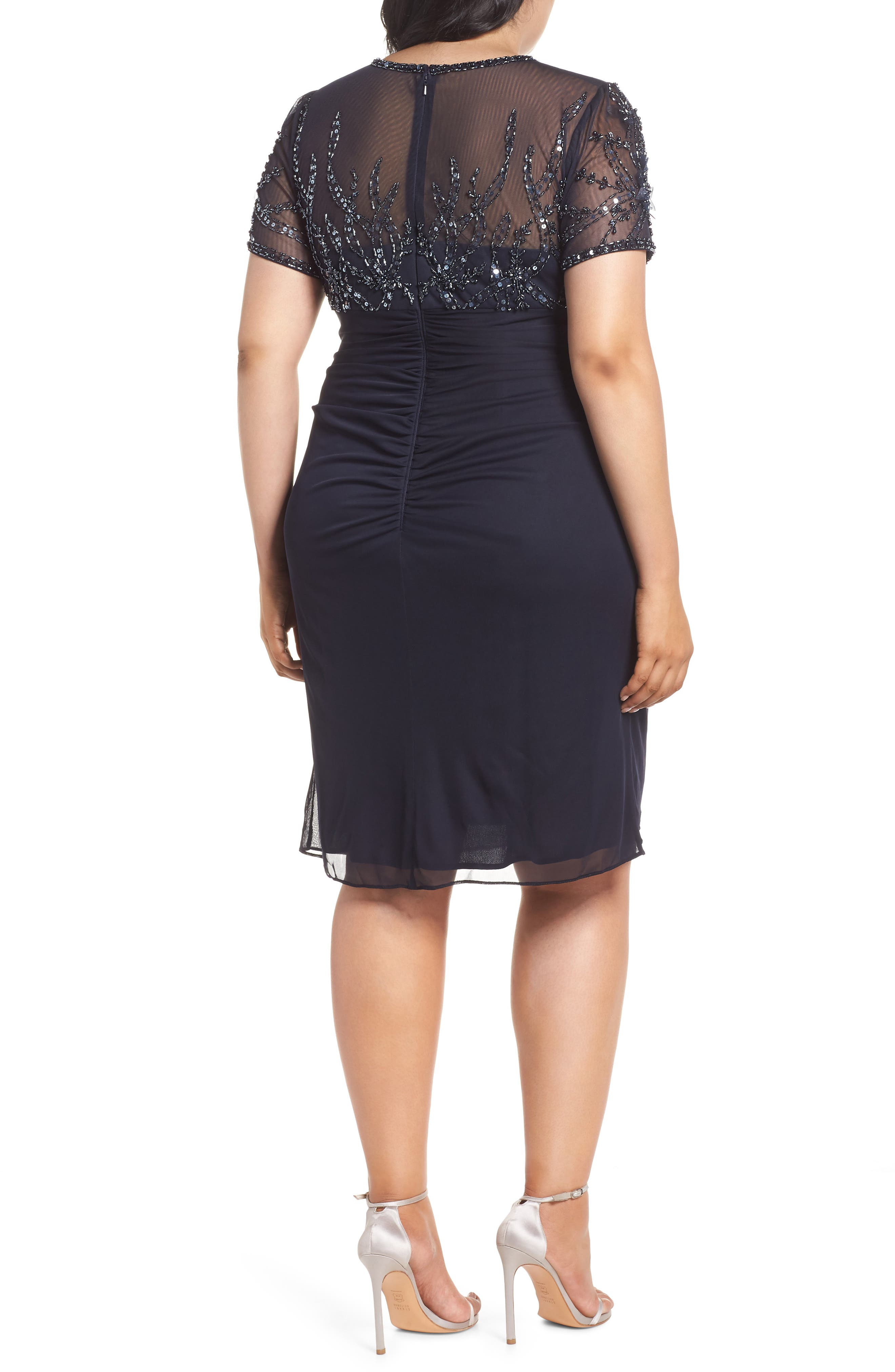 XSCAPE,                             Beaded Bodice Ruched Sheath Dress,                             Alternate thumbnail 2, color,                             400