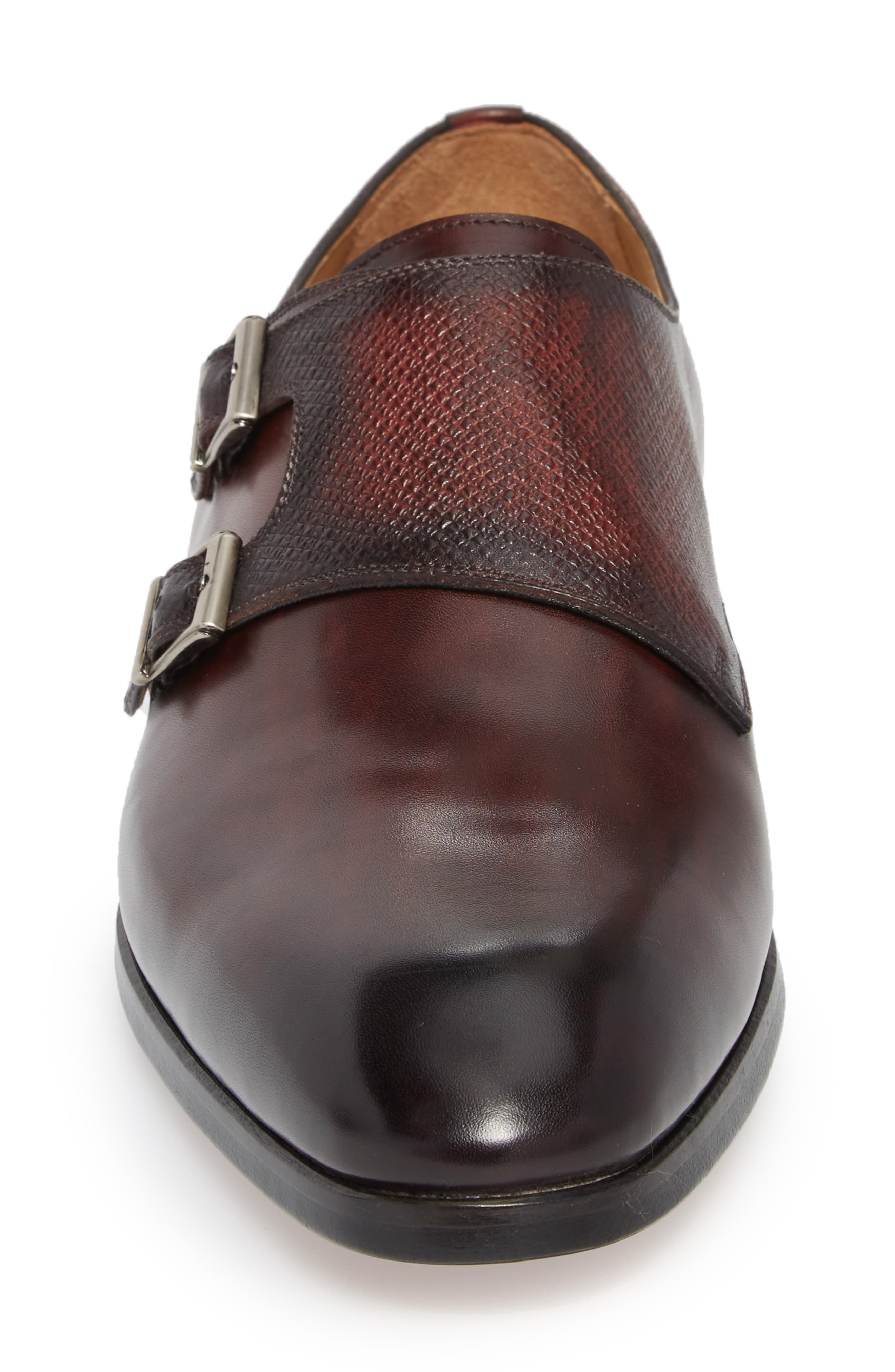 Arlo Pebbled Monk Shoe,                             Alternate thumbnail 4, color,                             BURGUNDY LEATHER