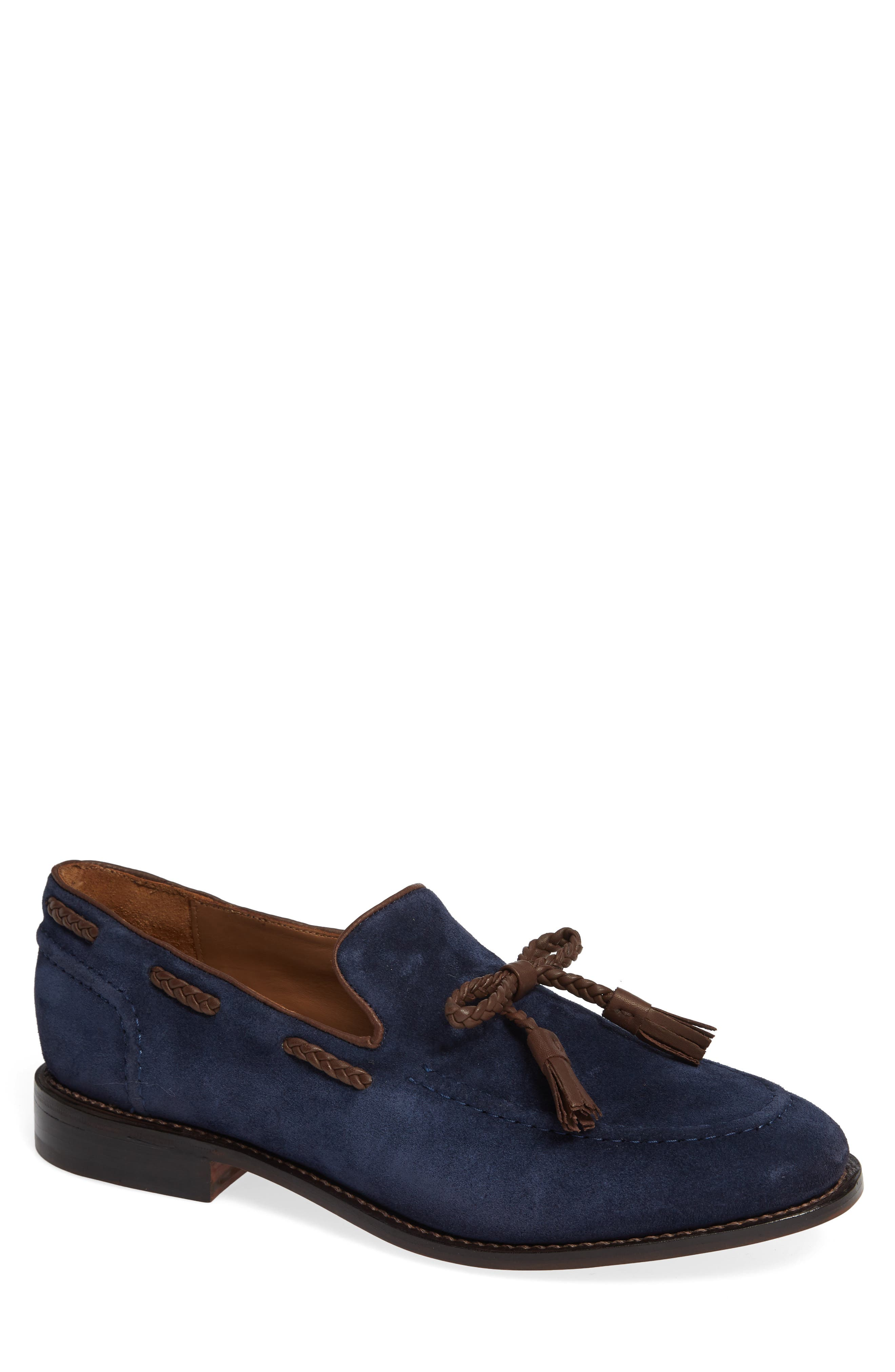 Braided Tassel Loafer,                         Main,                         color, NAVY SUEDE