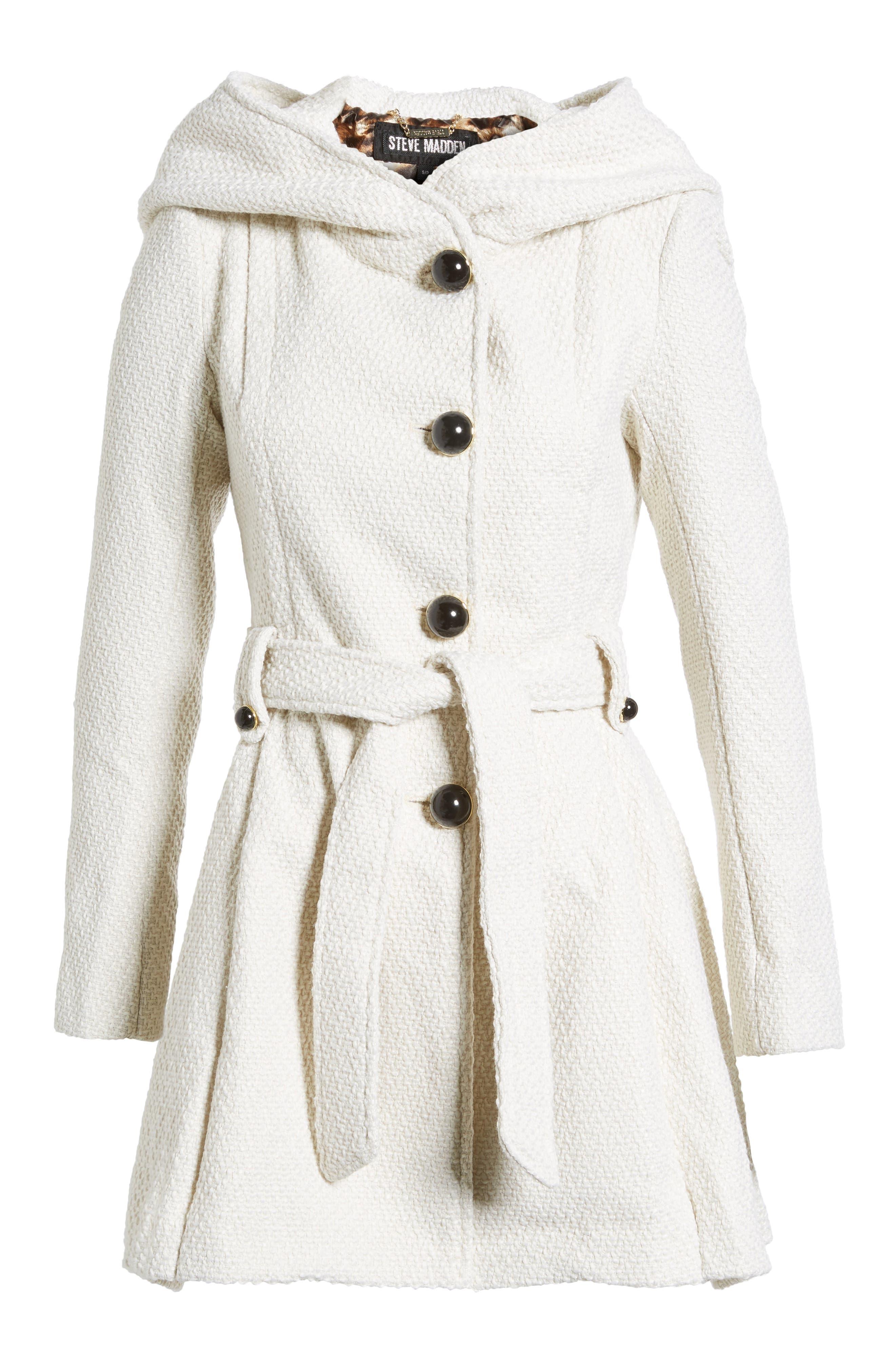 Belted Hooded Skirted Coat,                             Alternate thumbnail 5, color,                             902