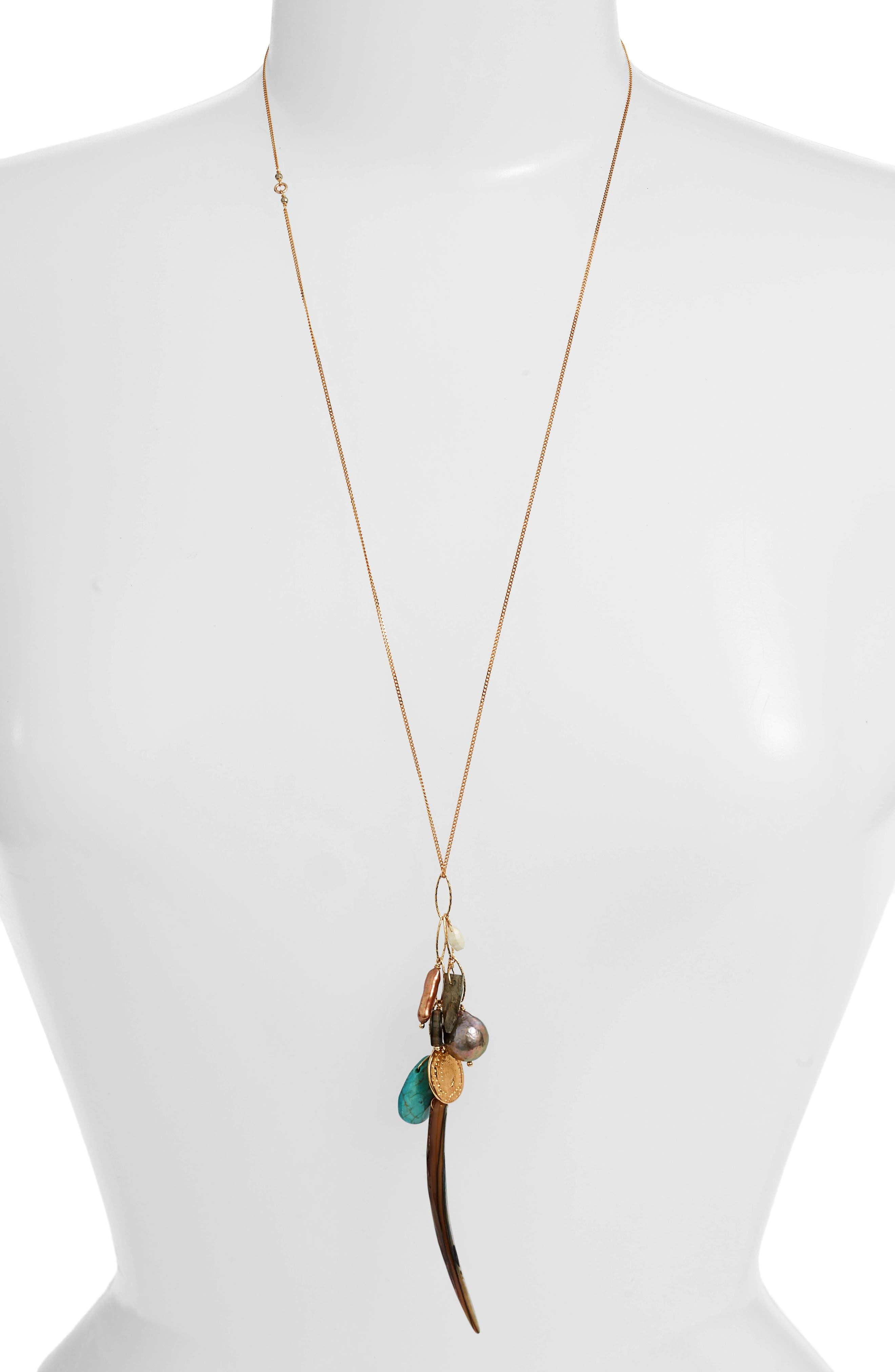 Long Charm Pendant Necklace,                             Main thumbnail 1, color,                             ABALONE MIX
