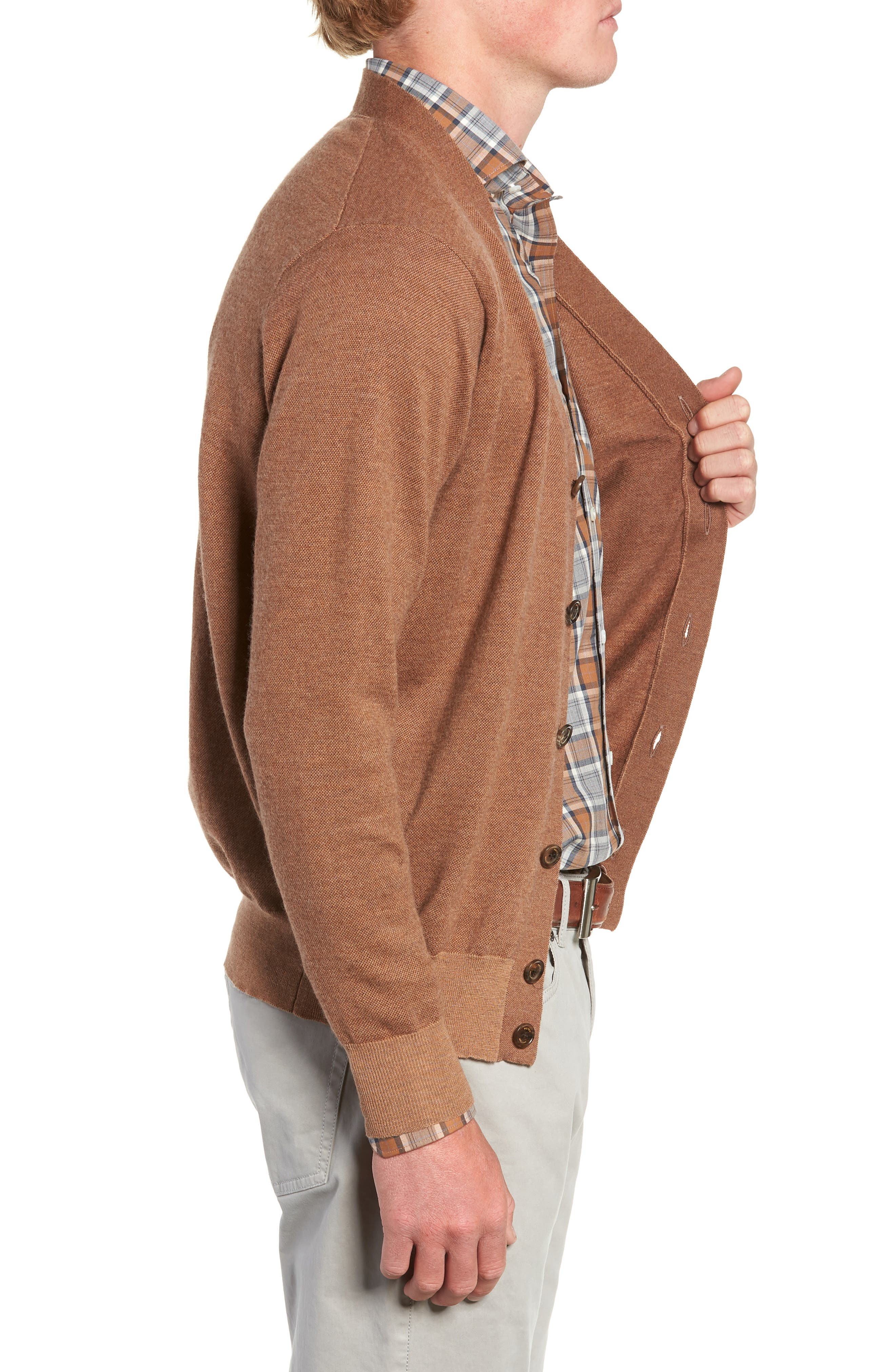 English Manor Cardigan,                             Alternate thumbnail 3, color,                             VICUNA