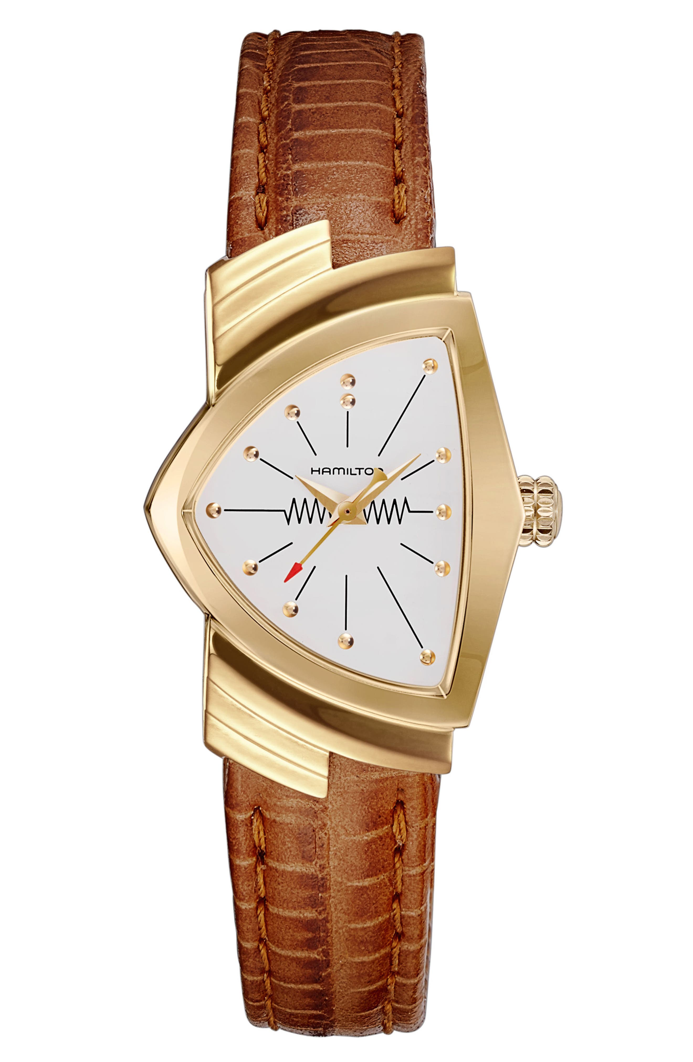 Ventura Leather Strap Watch, 24mm x 36.5mm,                         Main,                         color, BROWN/ WHITE/ GOLD