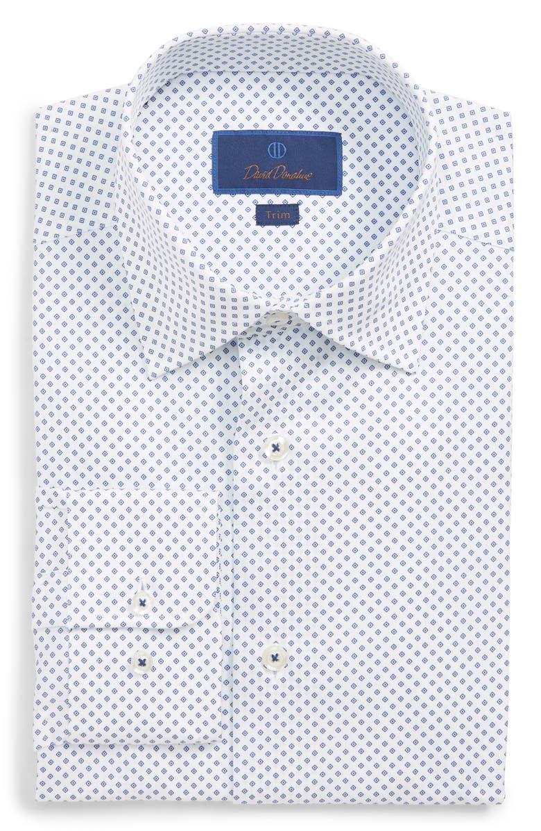 David Donahue TRIM FIT GEOMETRIC PRINT DRESS SHIRT