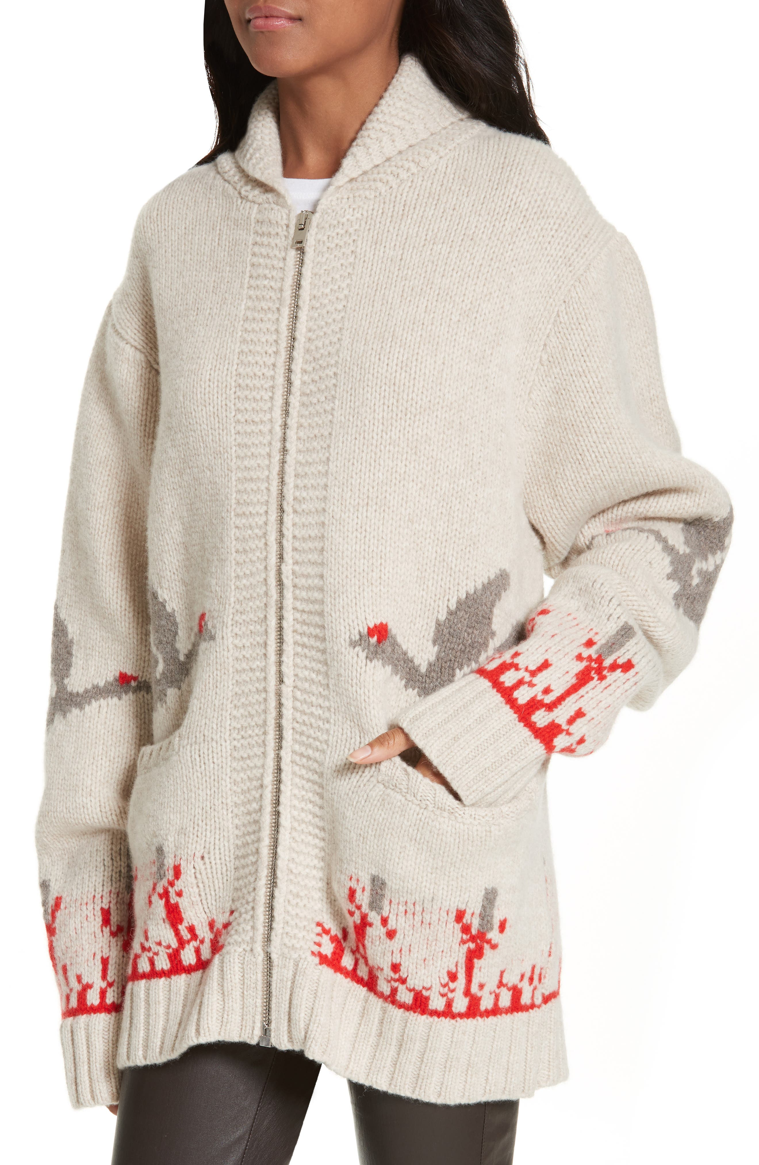 Chunky Intarsia Wool Cardigan,                             Alternate thumbnail 4, color,                             281