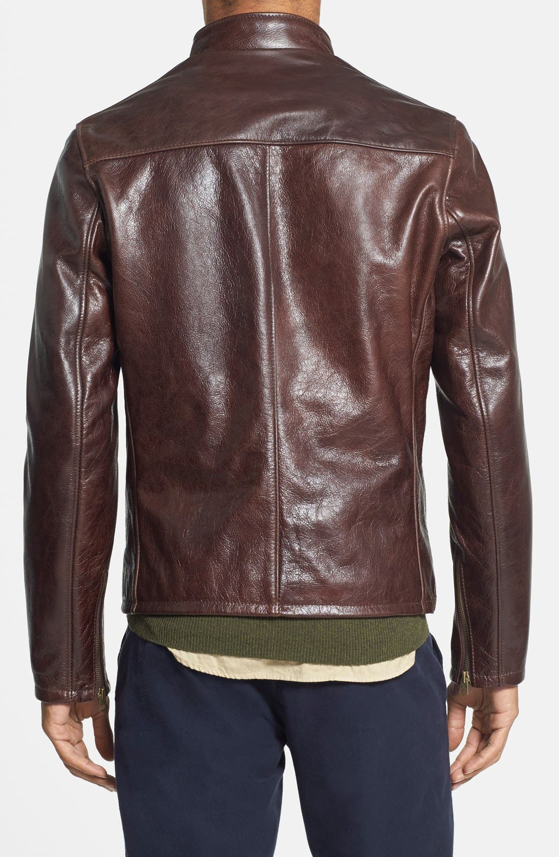 Café Racer Waxy Cowhide Leather Jacket,                             Alternate thumbnail 9, color,                             BROWN