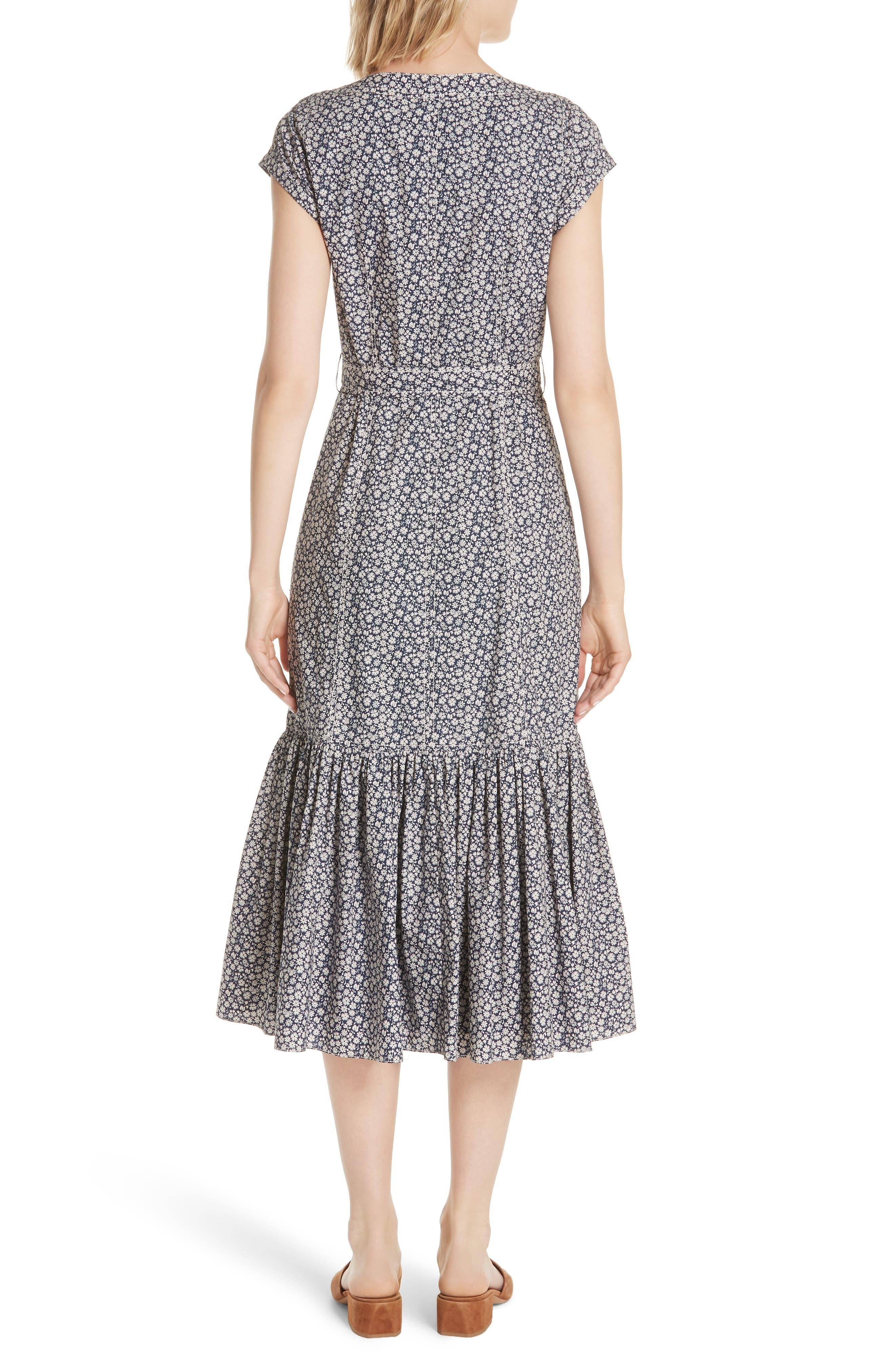 Lauren Tie Front Floral Cotton Dress,                             Alternate thumbnail 2, color,                             450