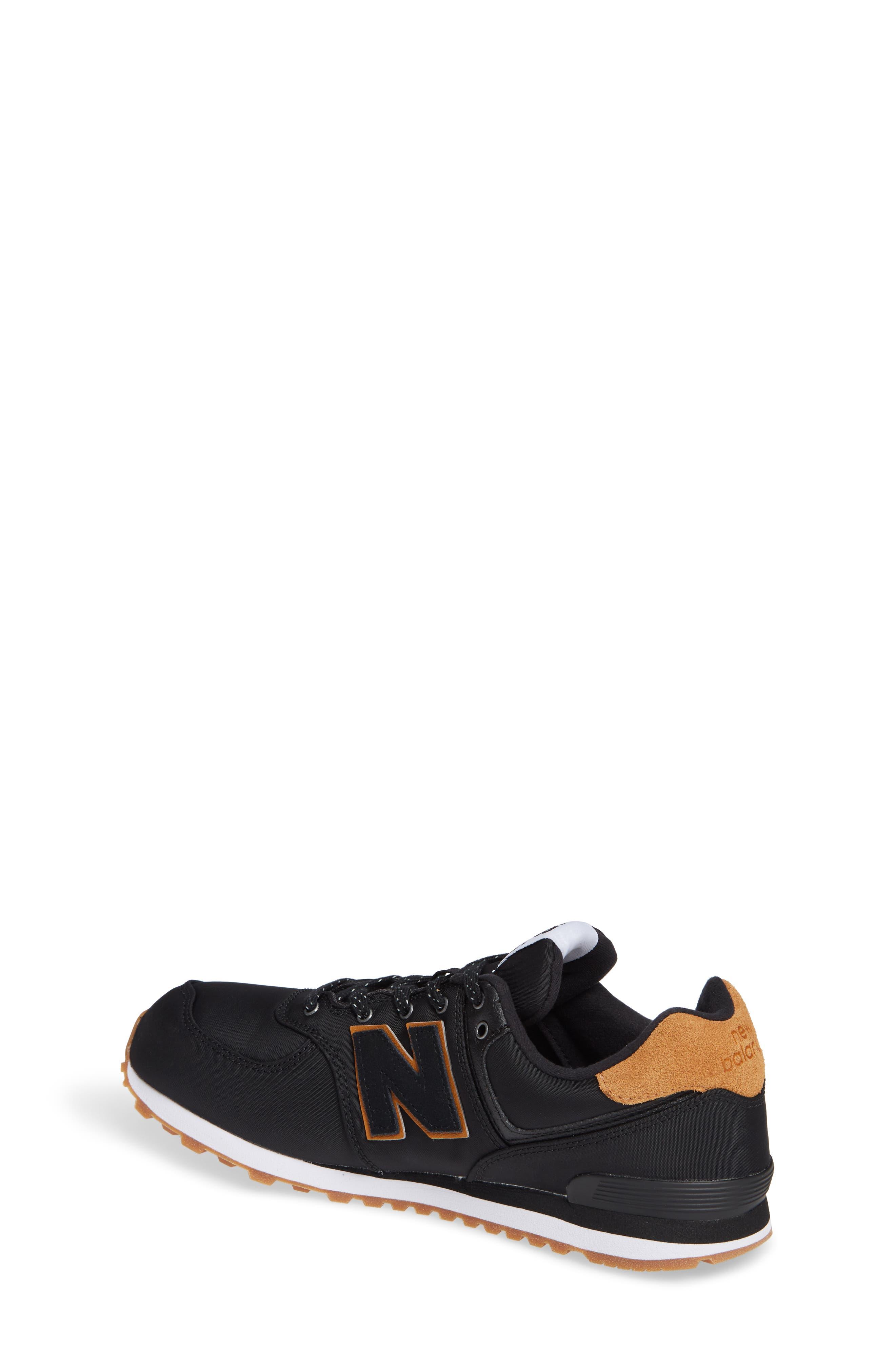 574 Essentials Sneaker,                             Alternate thumbnail 2, color,                             BLACK/ WHITE