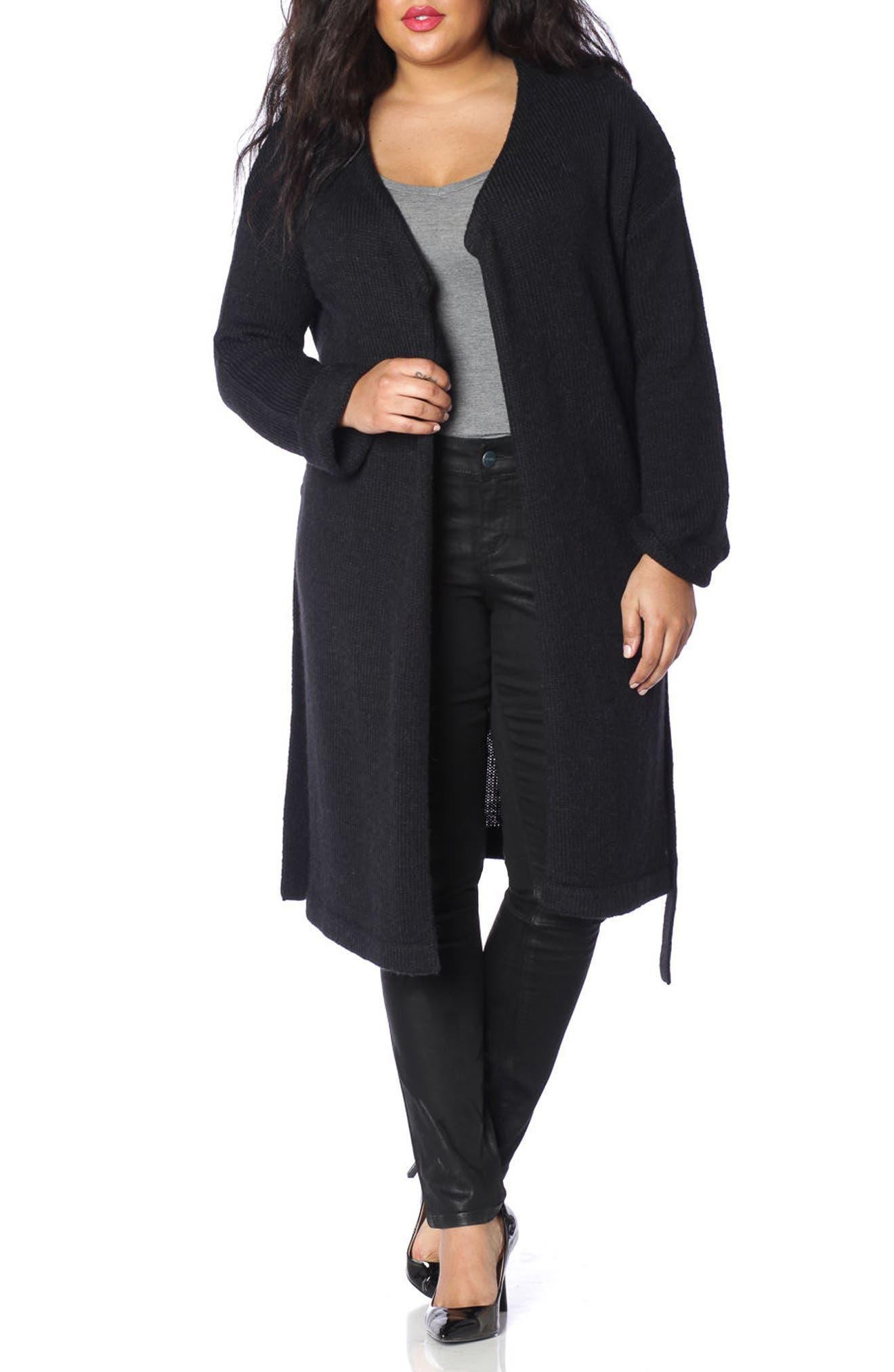 Side Button Long Cardigan,                         Main,                         color, 001