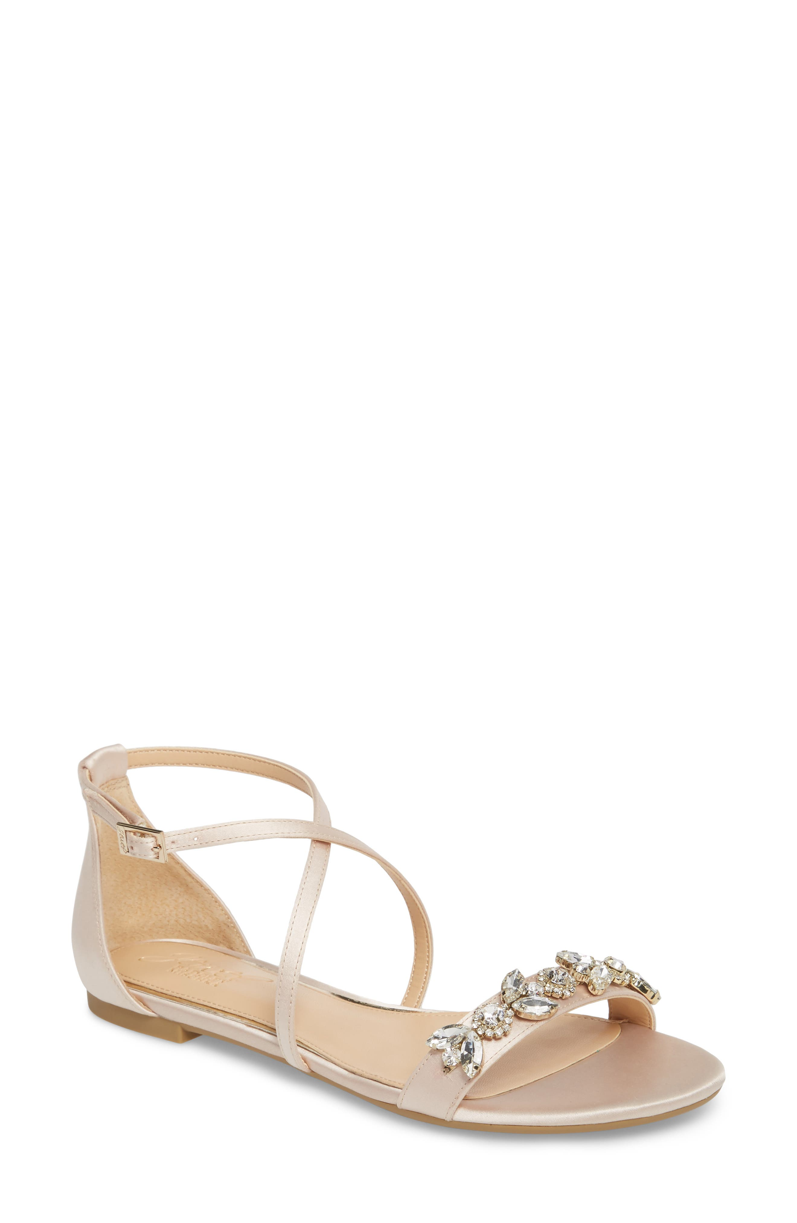 Tessy Embellished Sandal,                         Main,                         color, CHAMPAGNE SATIN