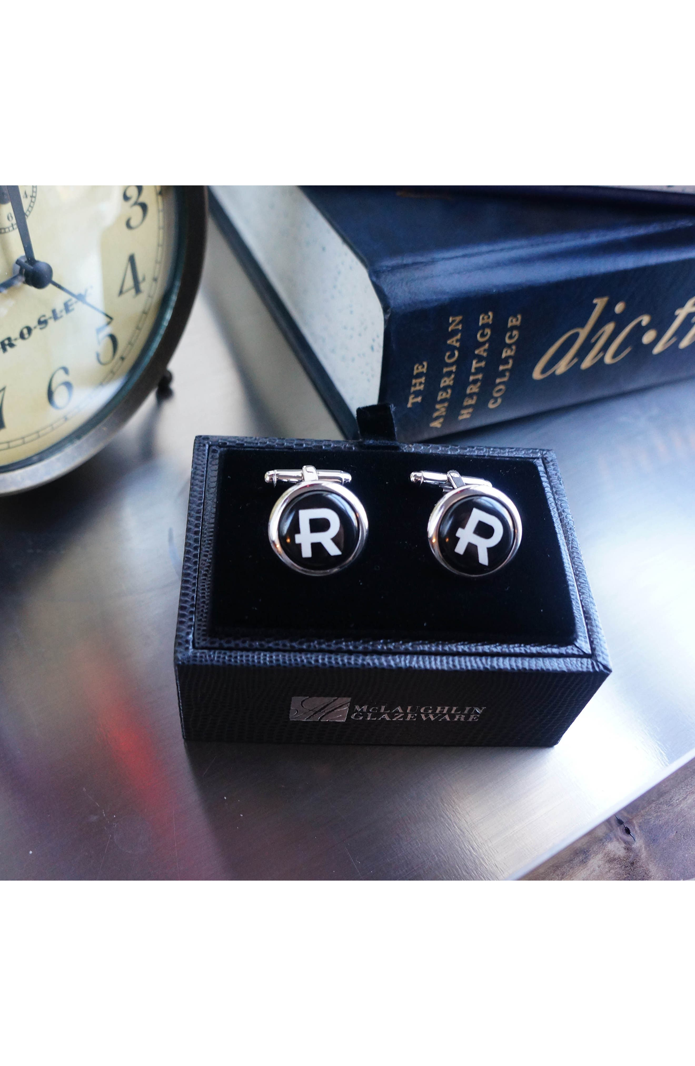 Brooklyn Silver Monogram Cuff Links,                             Alternate thumbnail 2, color,                             A