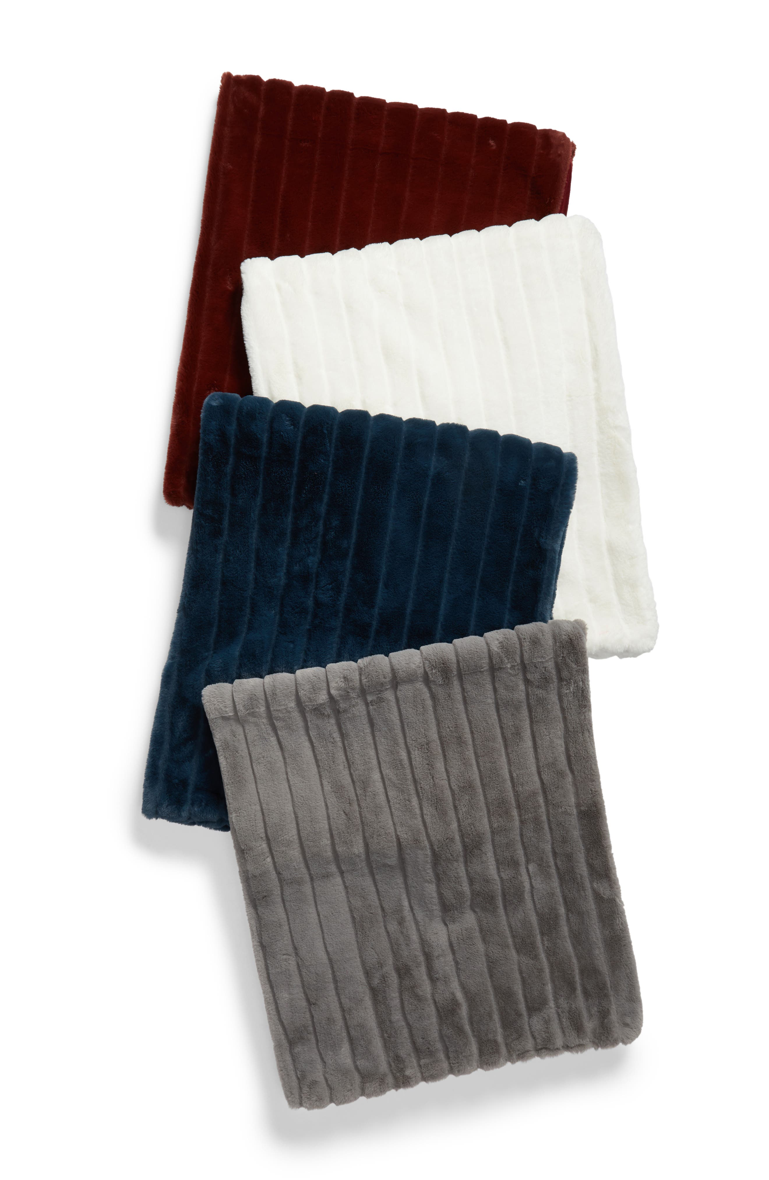 Sheared Stripe Faux Fur Throw,                             Alternate thumbnail 3, color,                             GREY FROST
