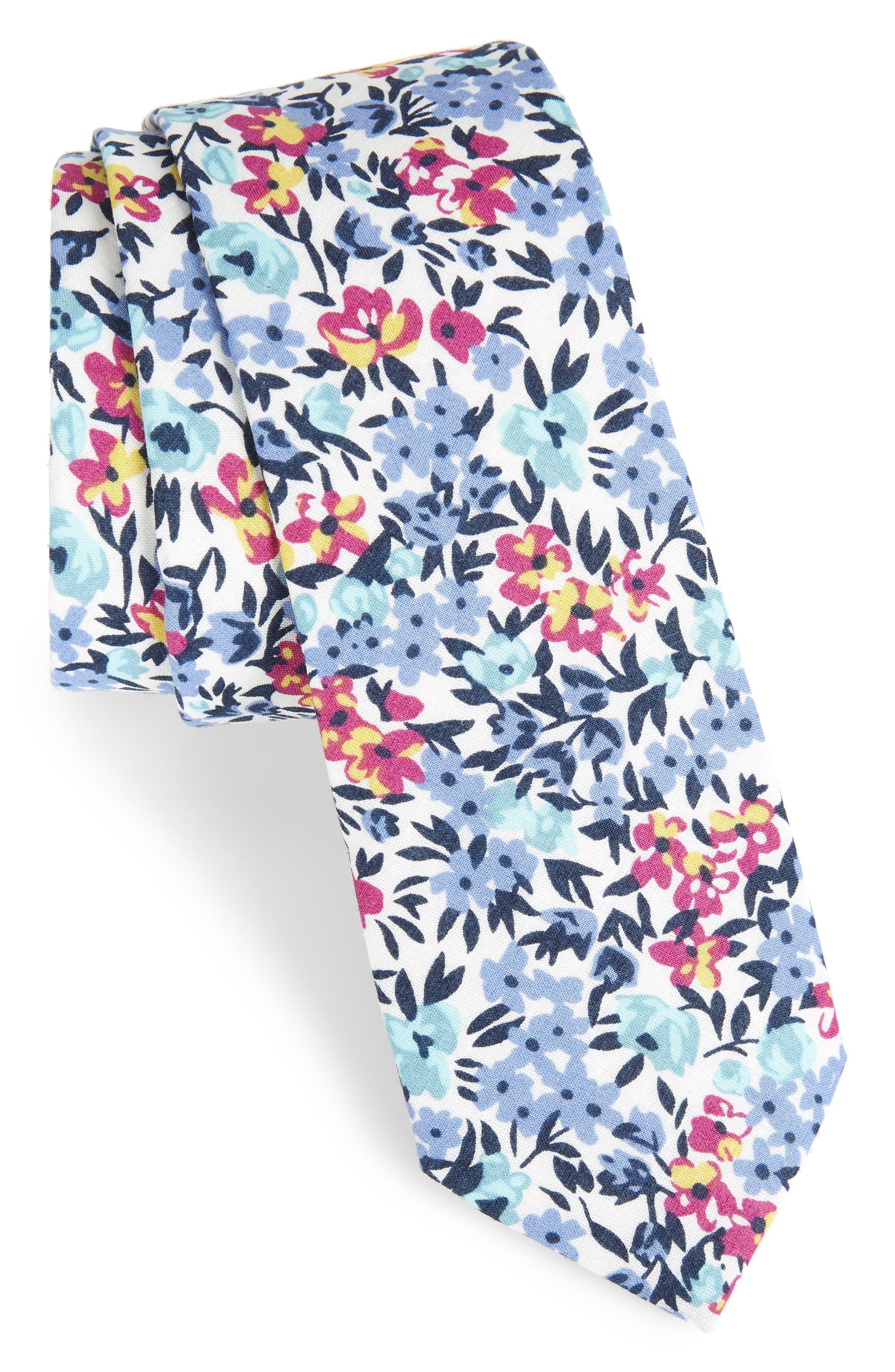 Anvil Floral Cotton Skinny Tie,                             Main thumbnail 1, color,                             400