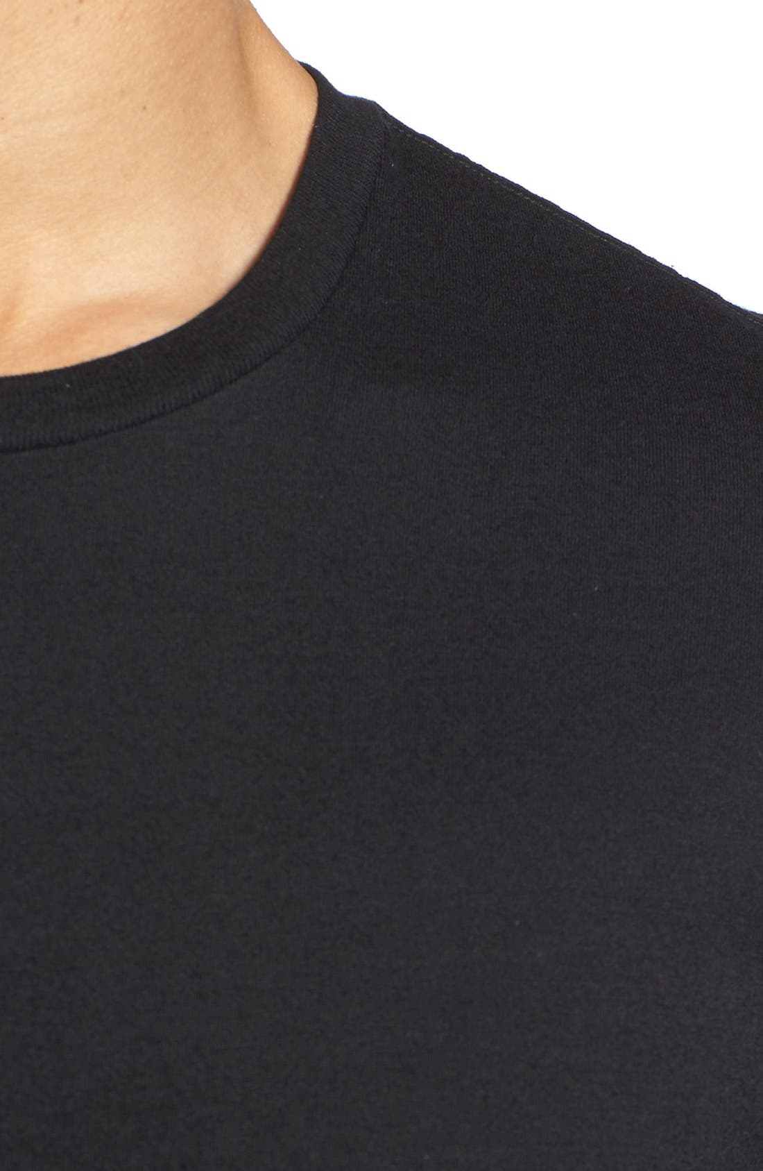 Crewneck T-Shirt,                             Alternate thumbnail 2, color,                             BLACK