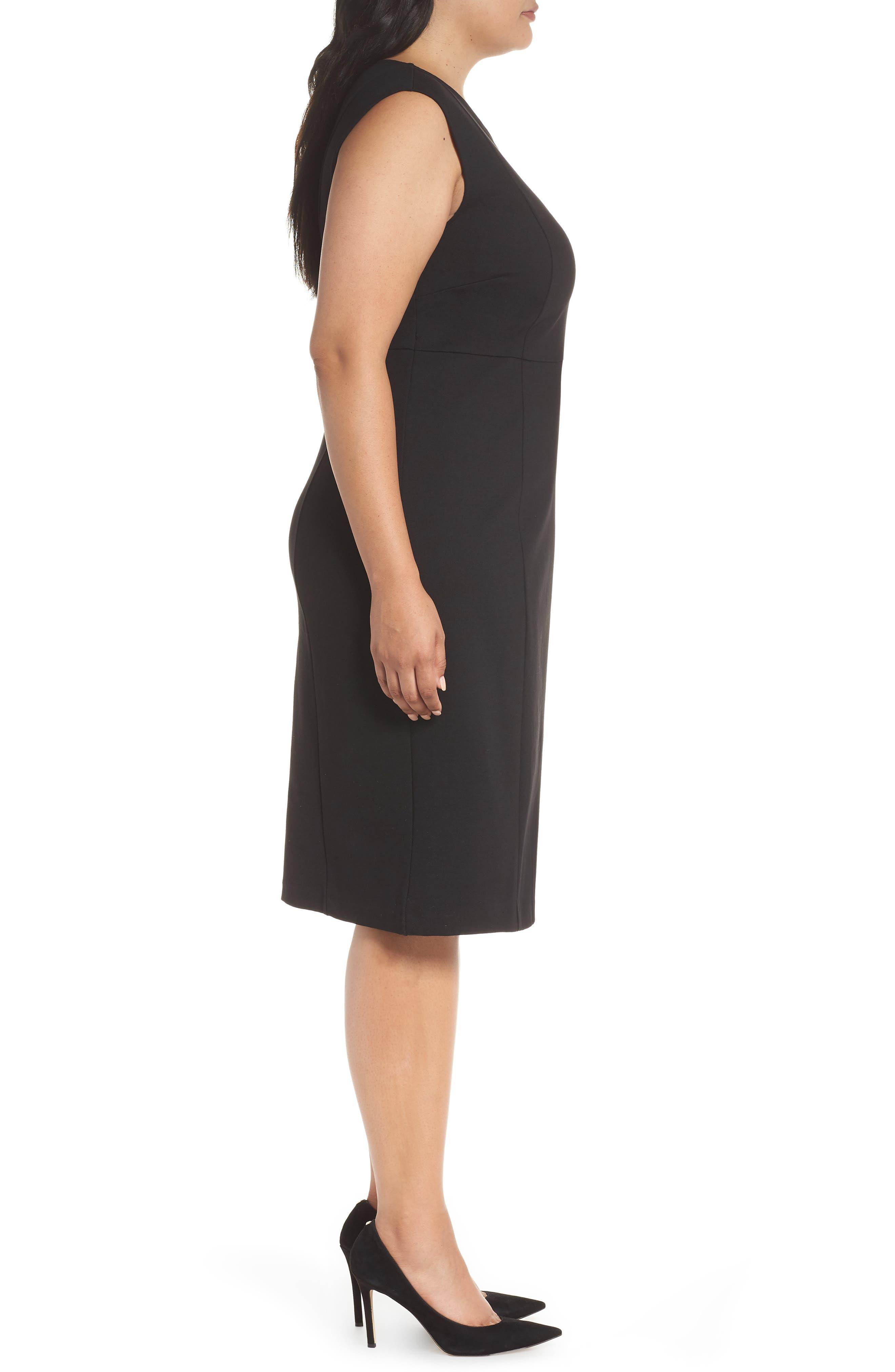 Asymmetrical Neck Sheath Dress,                             Alternate thumbnail 3, color,                             001