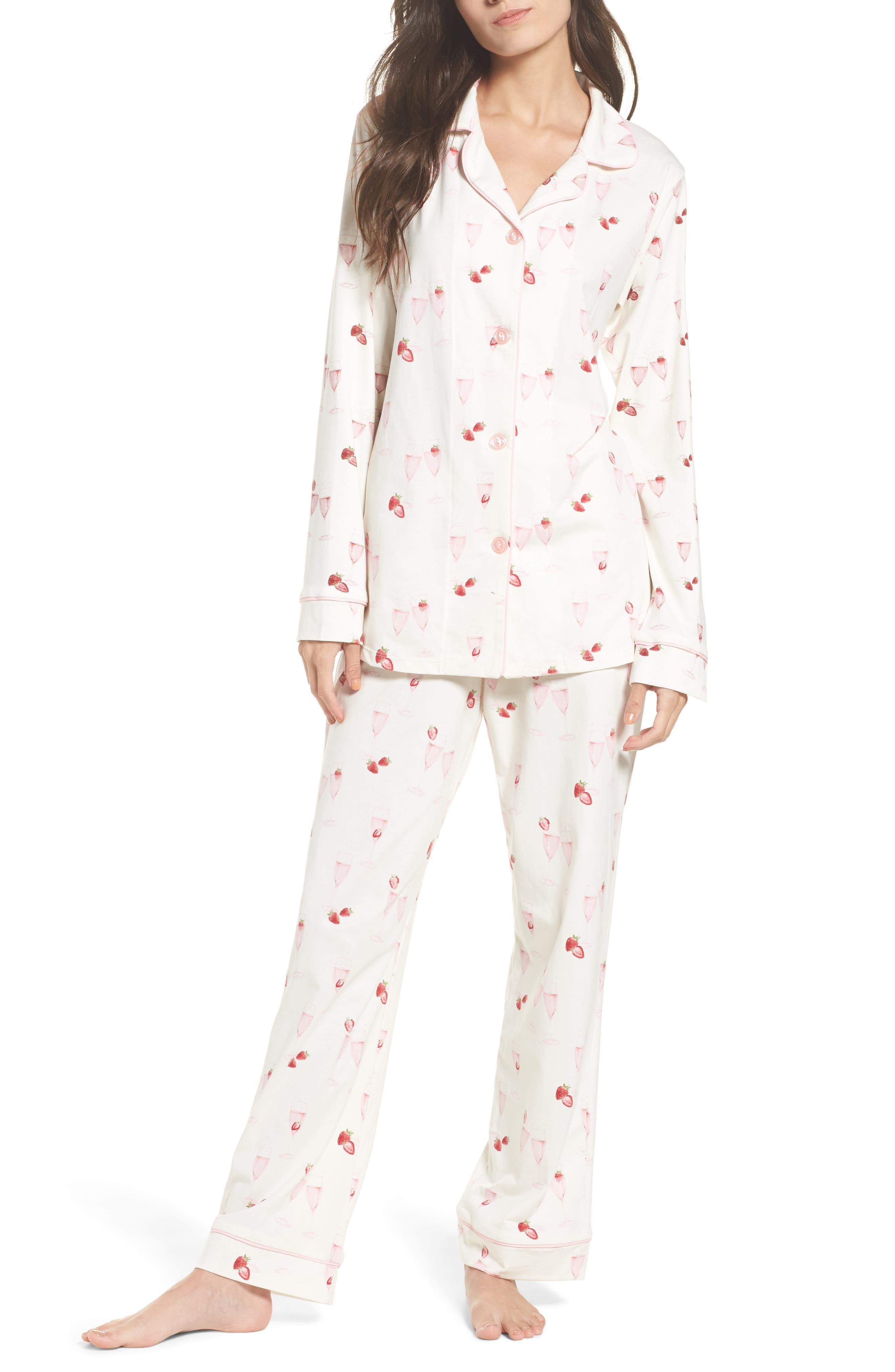 Strawberries & Champagne Print Pajamas,                             Main thumbnail 1, color,