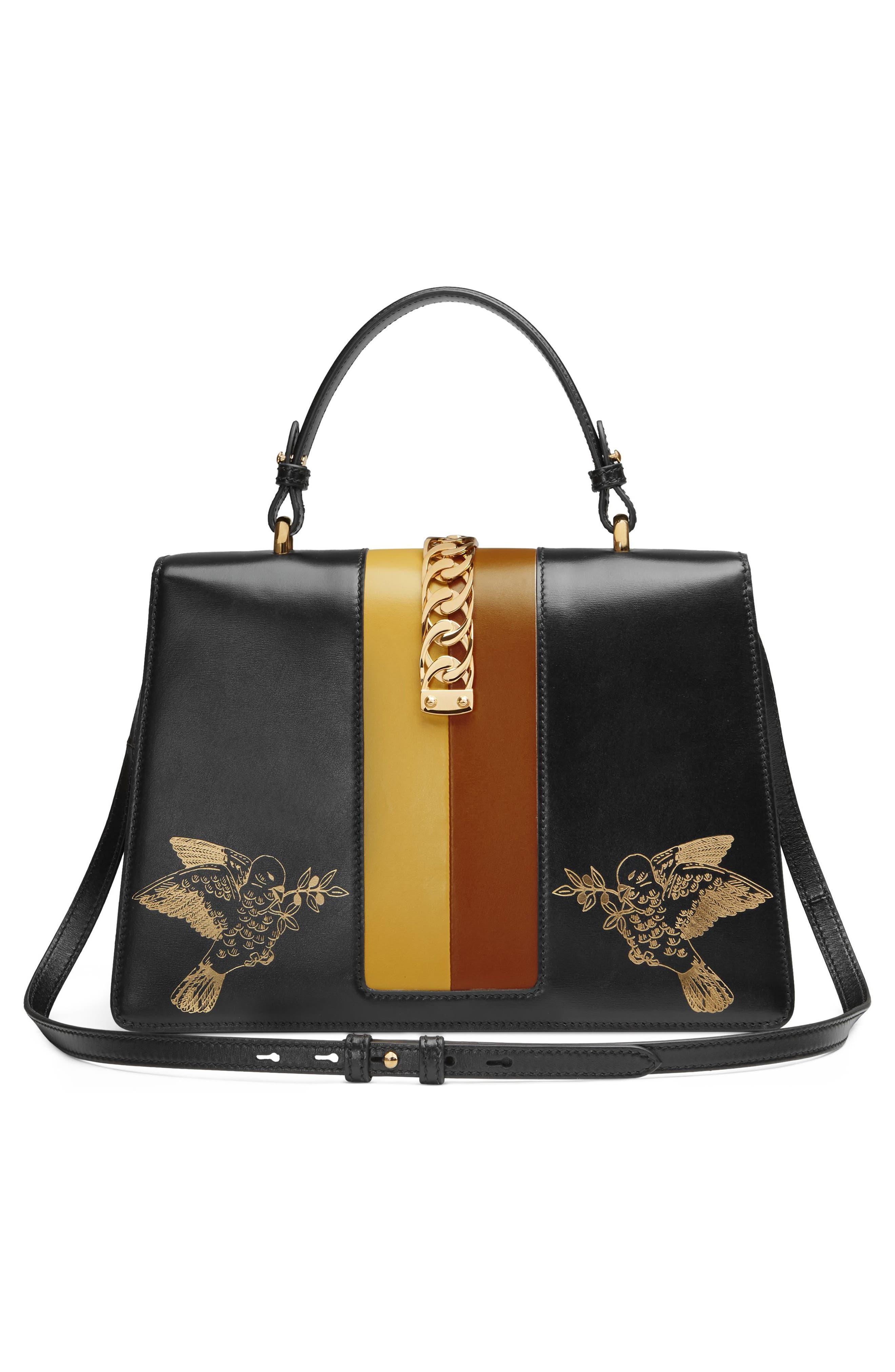 Medium Sylvie Top Handle Leather Bag,                             Alternate thumbnail 2, color,                             BLACK GOLD/ CARAMEL/ OCHRE