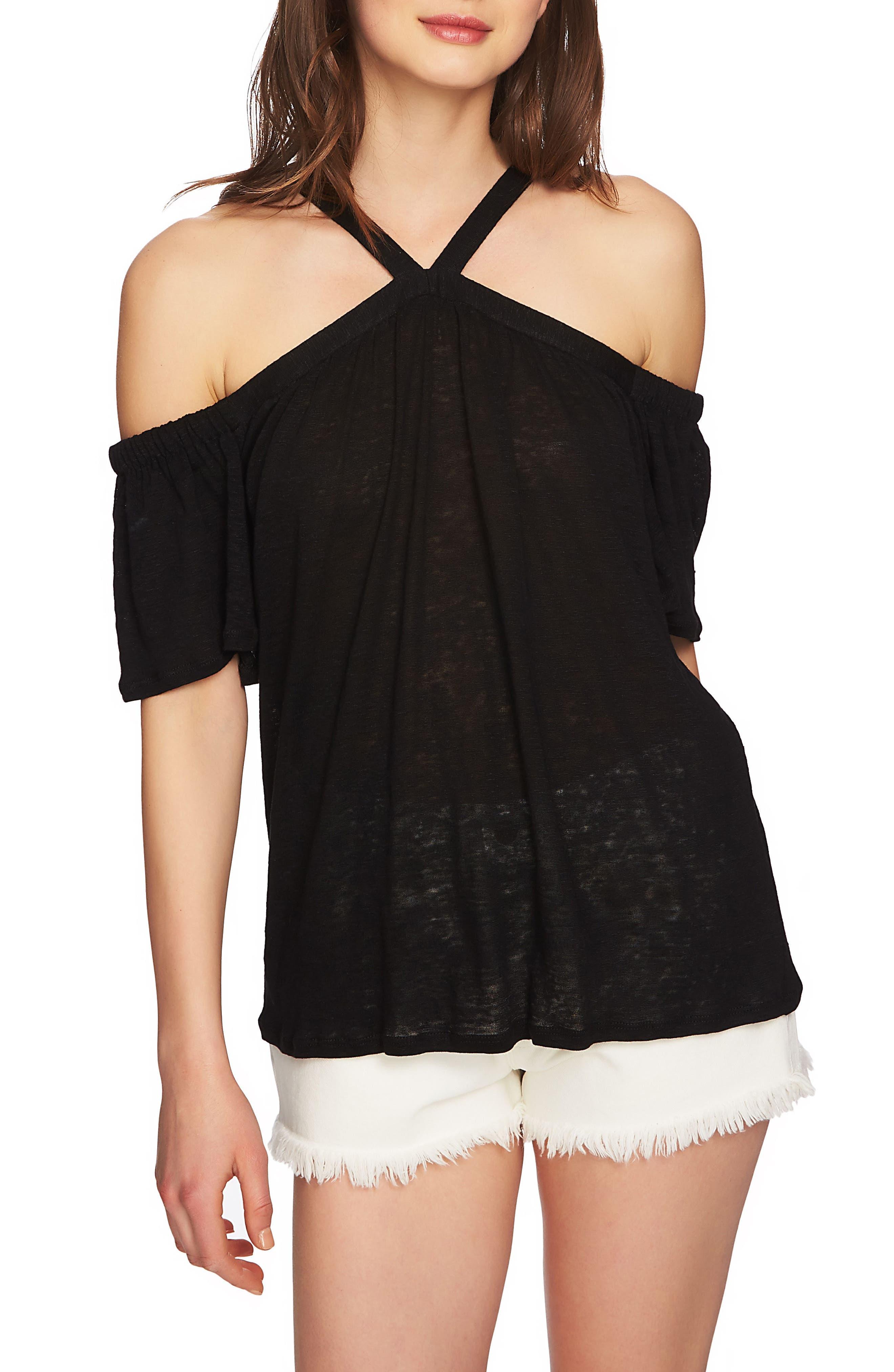 Cold Shoulder Linen Top,                         Main,                         color,