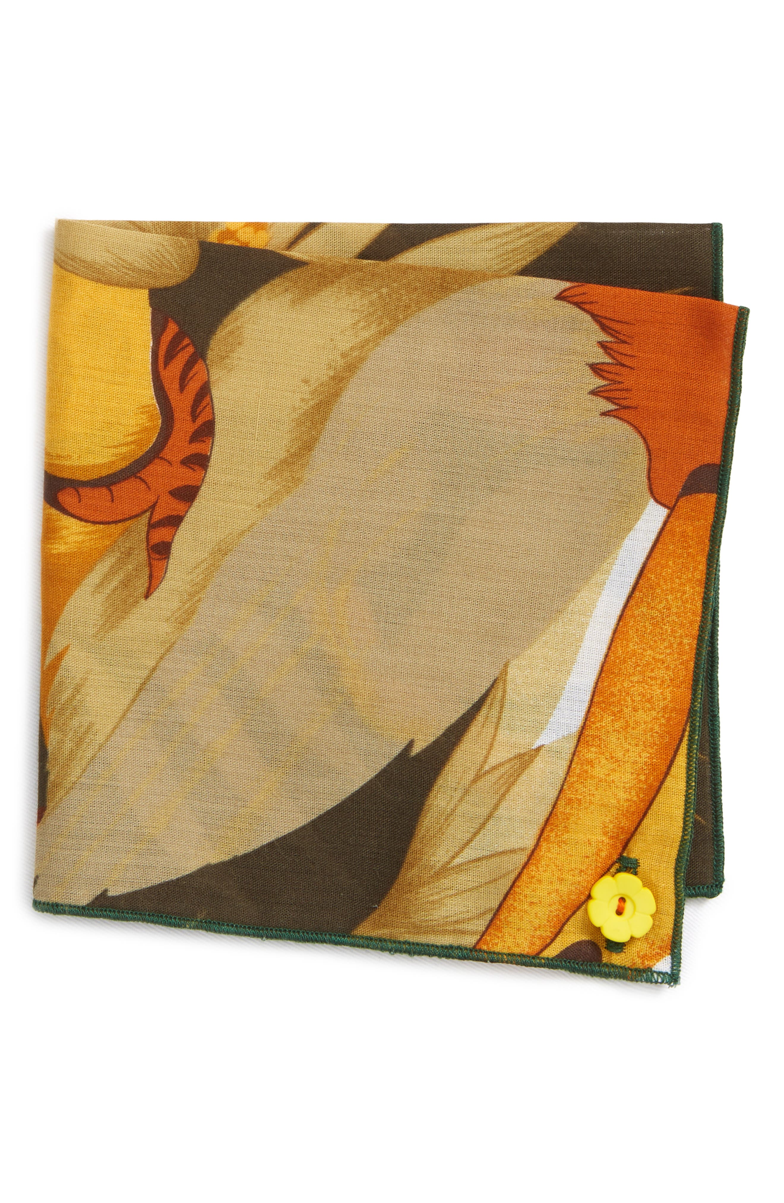 Orange Rose Cotton Pocket Square,                         Main,                         color, 800